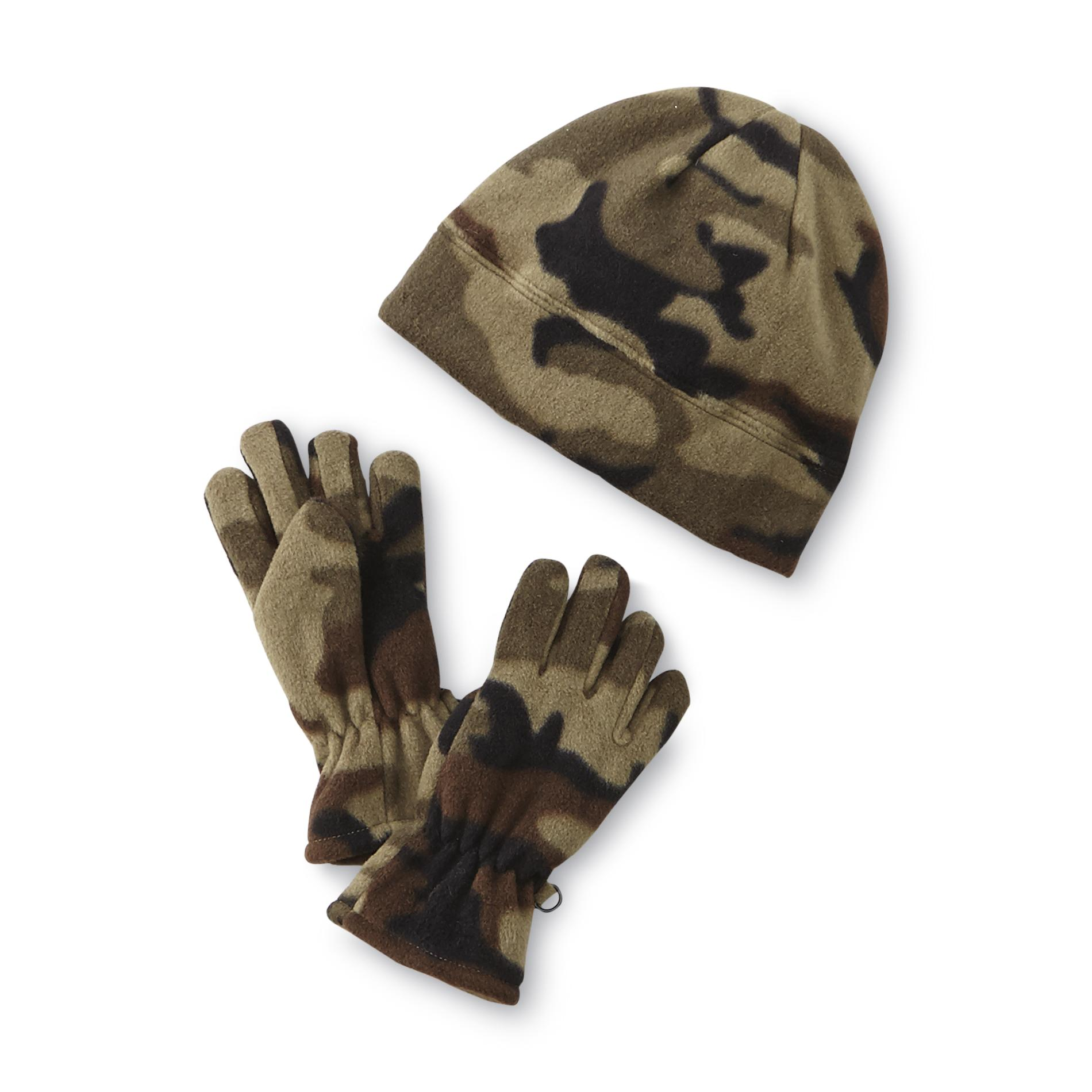 Athletech Boys Fleece Winter Hat Amp Gloves Camouflage