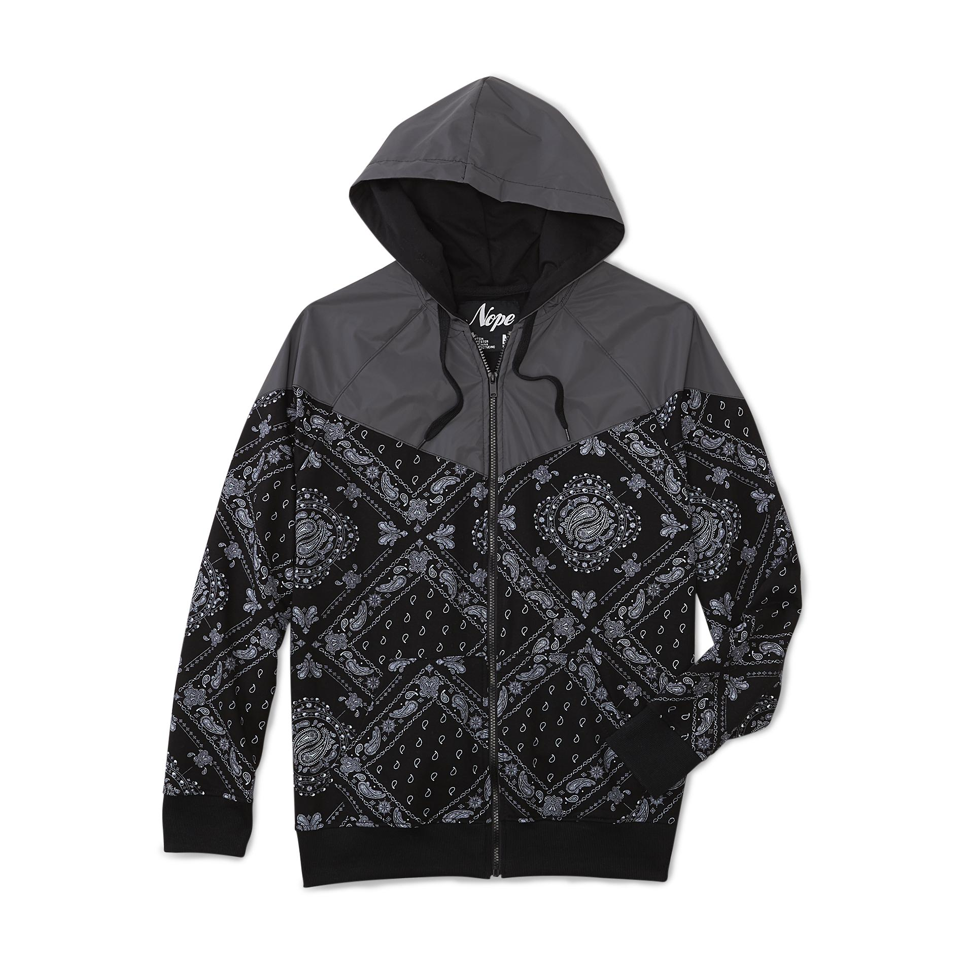 Nope Mens Windbreaker Hoodie Jacket Bandana
