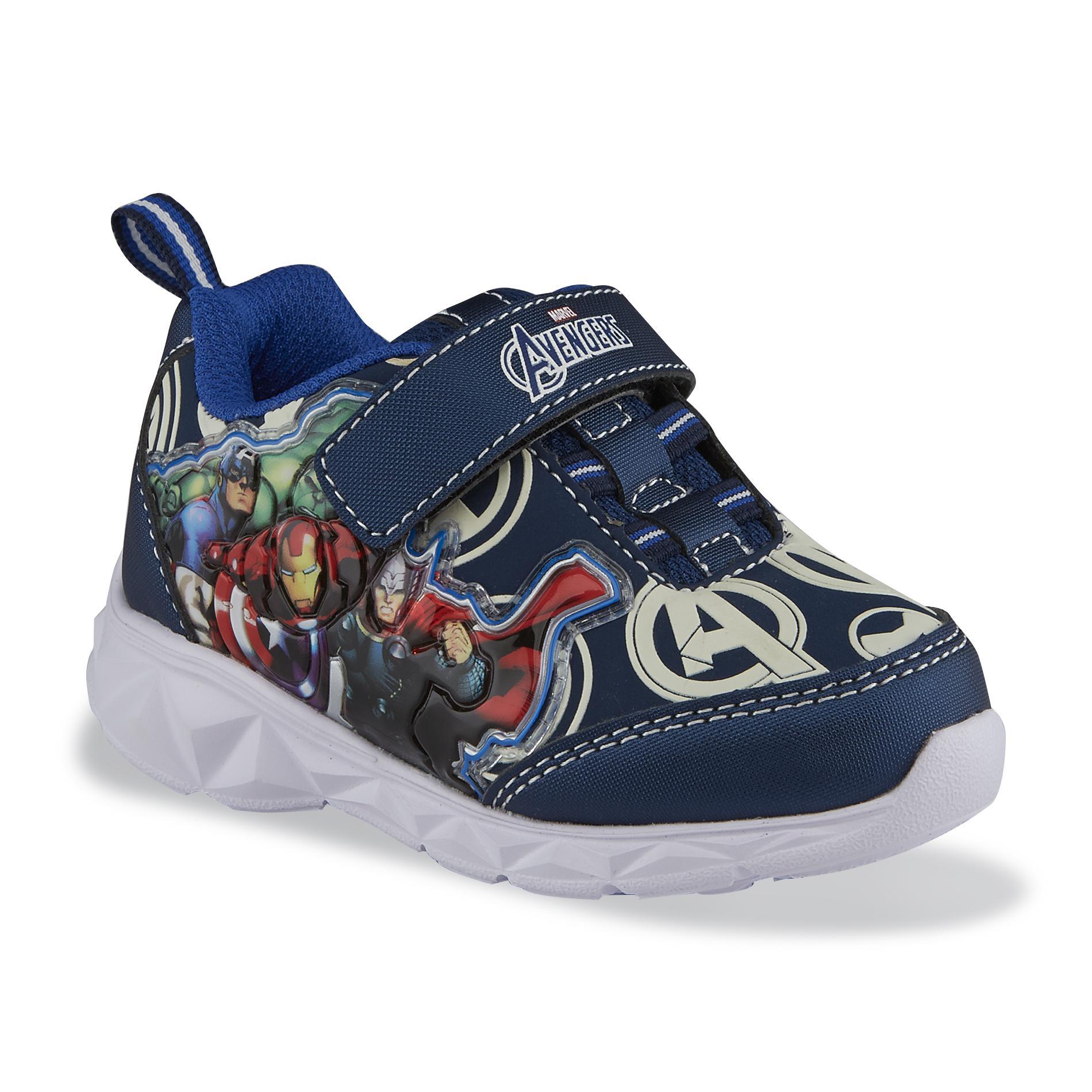 Marvel Toddler Boys Avengers BlueMulticolor Light Up Athletic Shoe