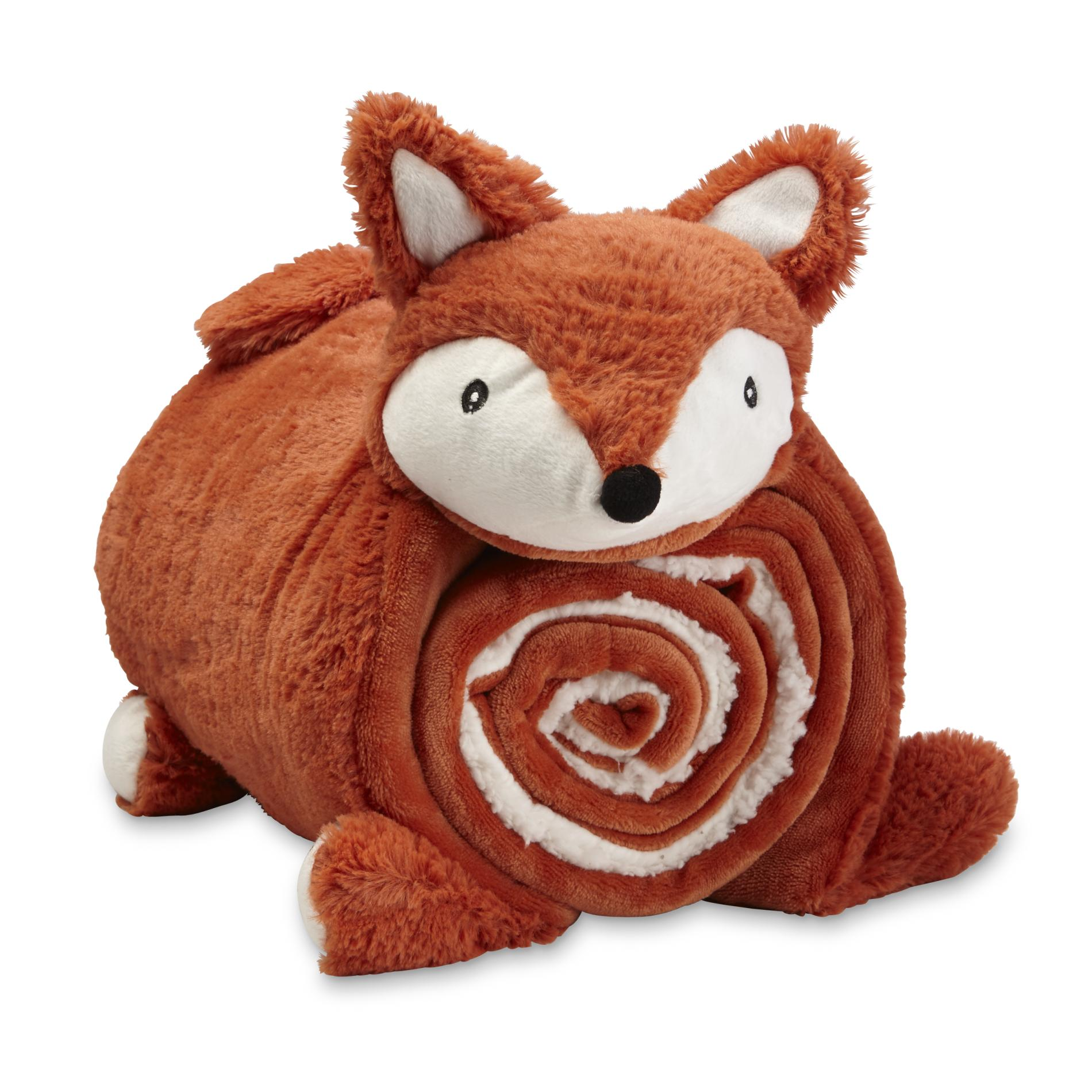 Kids Sherpa Cuddle Friend Amp Throw Set Fox