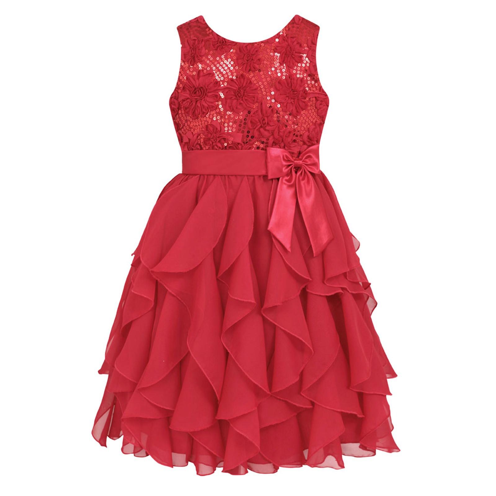 American Princess Girls Sleeveless Waterfall Occasion Dress