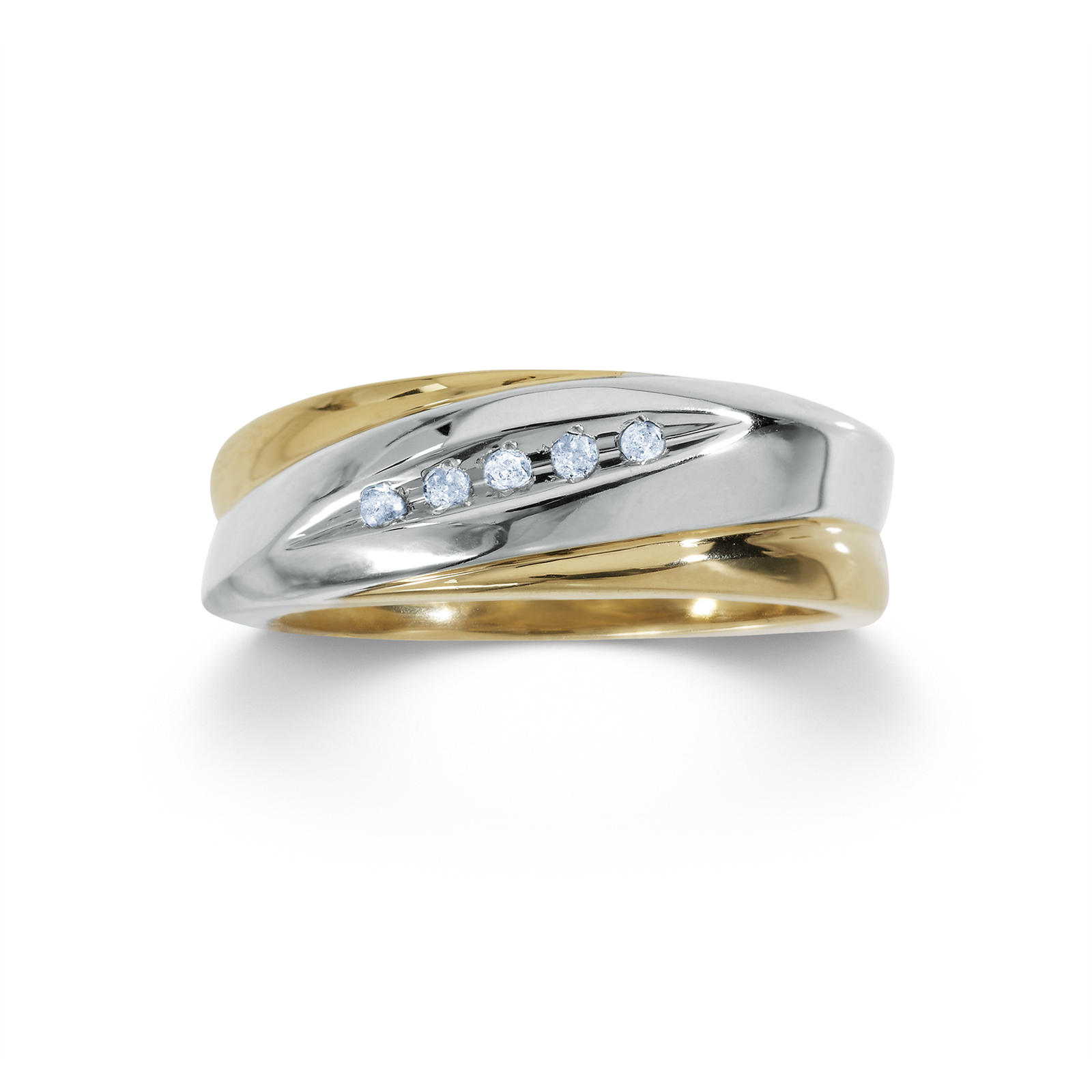 18K Gold Over Sterling Silver Mens Wedding Band With