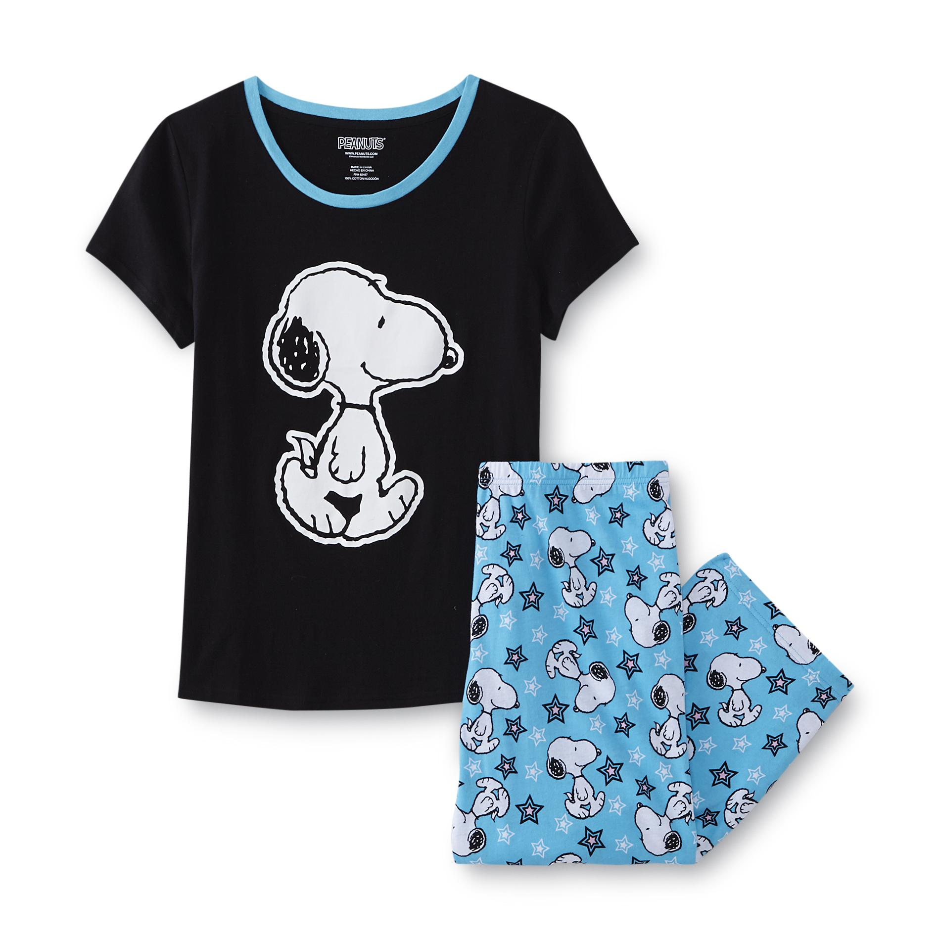Peanuts By Schulz Womens Plus Pajama Top Amp Pants Snoopy