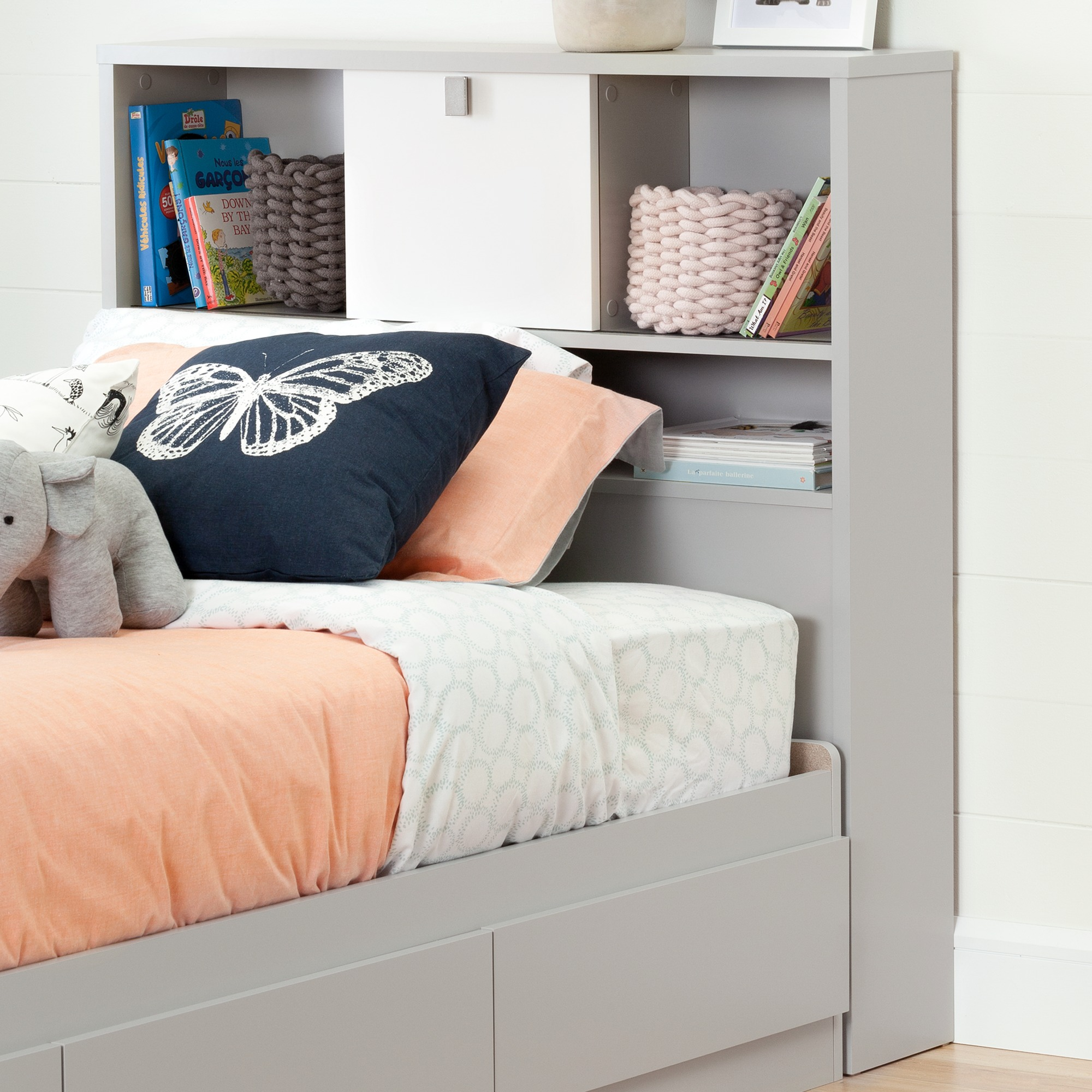 South Shore Cookie Twin Bookcase Headboard 39 Soft Gray