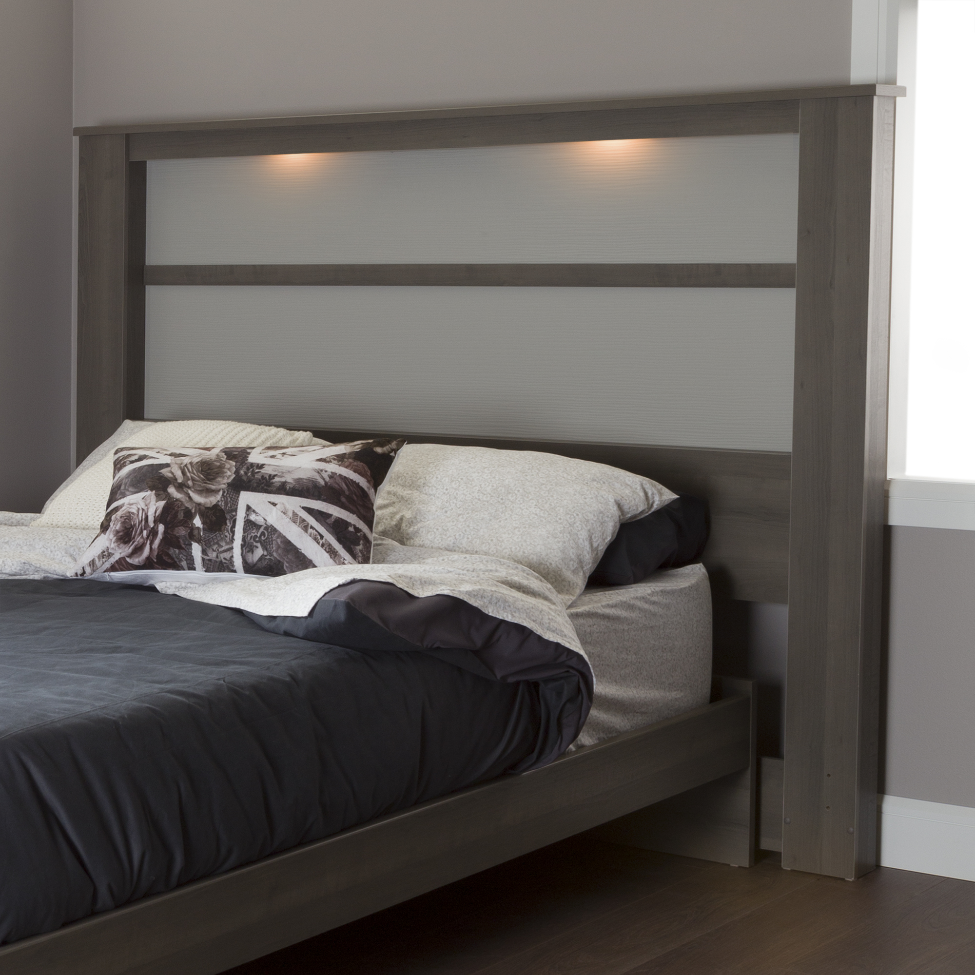 South Shore Gloria King Headboard 78 With Lights Gray