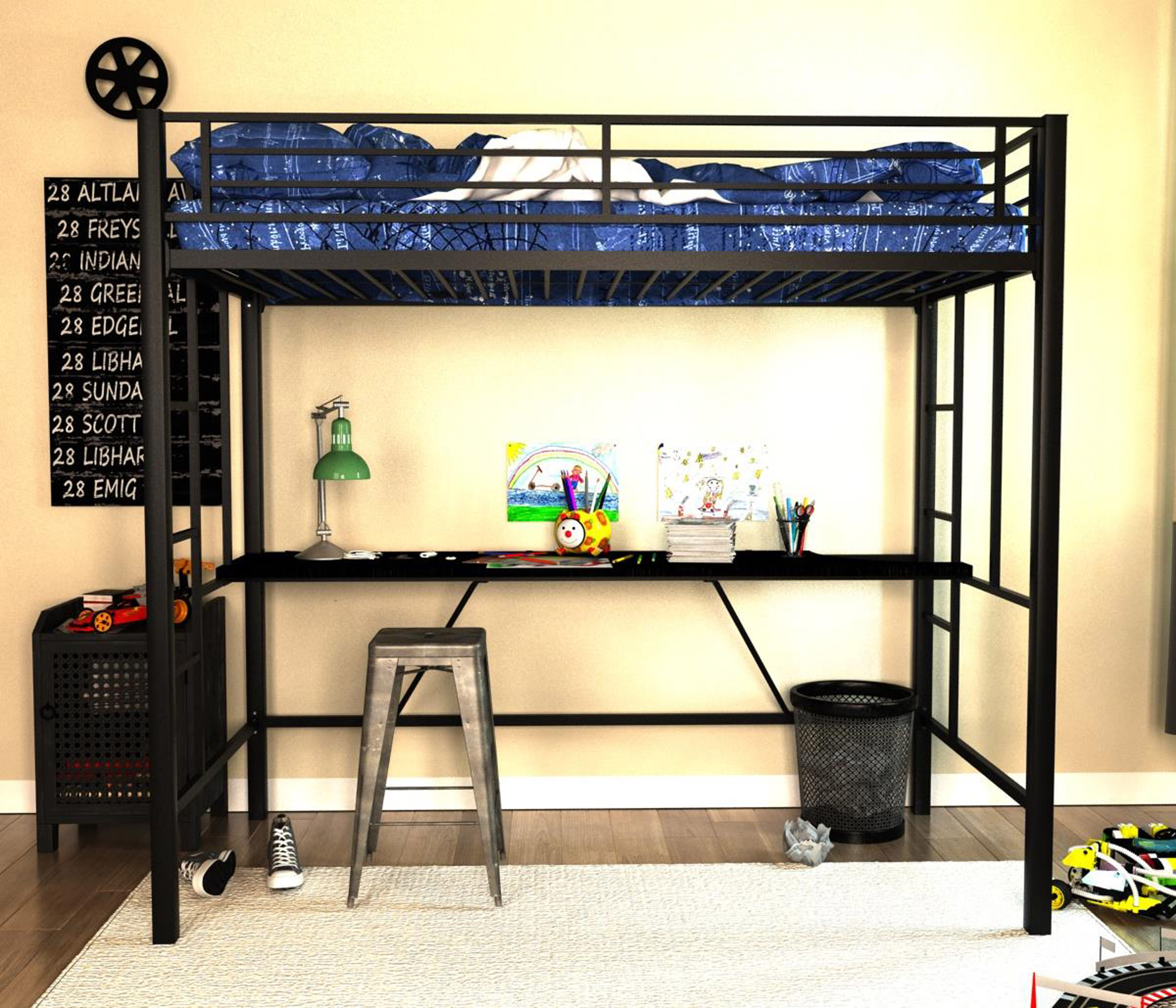 Dorel Home Furnishings Twin Black Metal Loft Bed With Desk