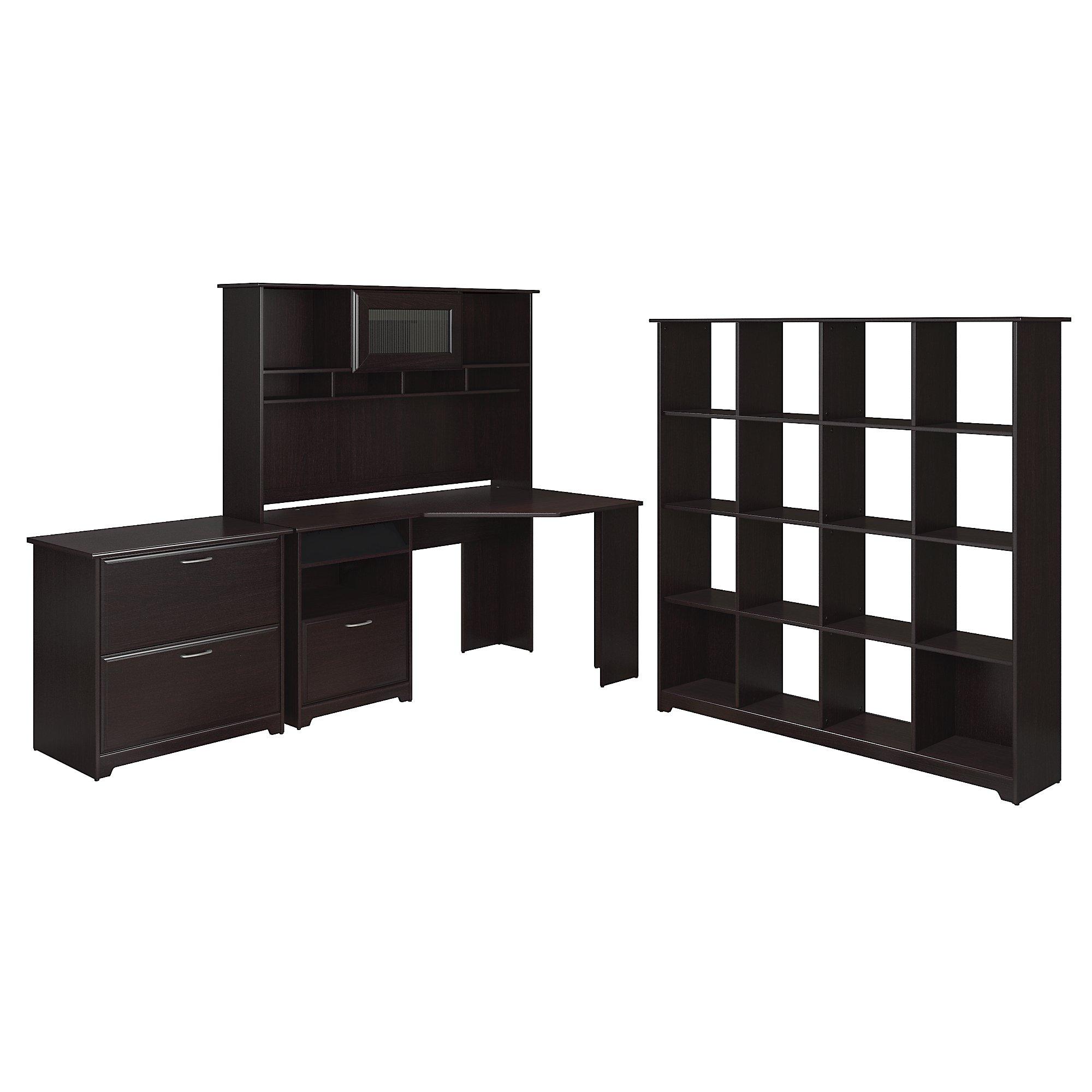 Bush Furniture Cabot Collection 60w Corner Desk Hutch 16