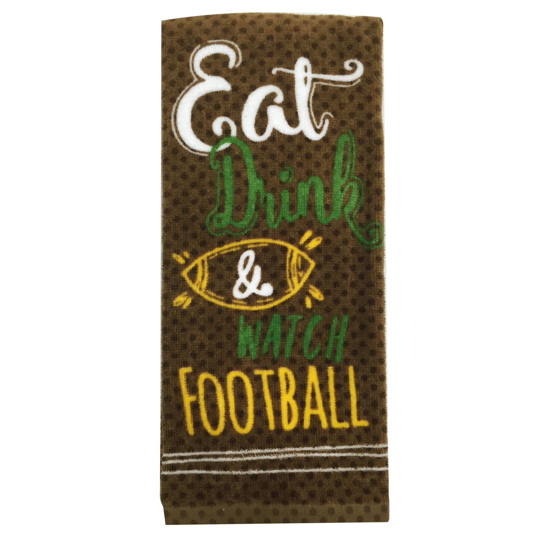 Essential Home Eat Drink Watch Football Kitchen Towel Home Kitchen Kitchen Linens