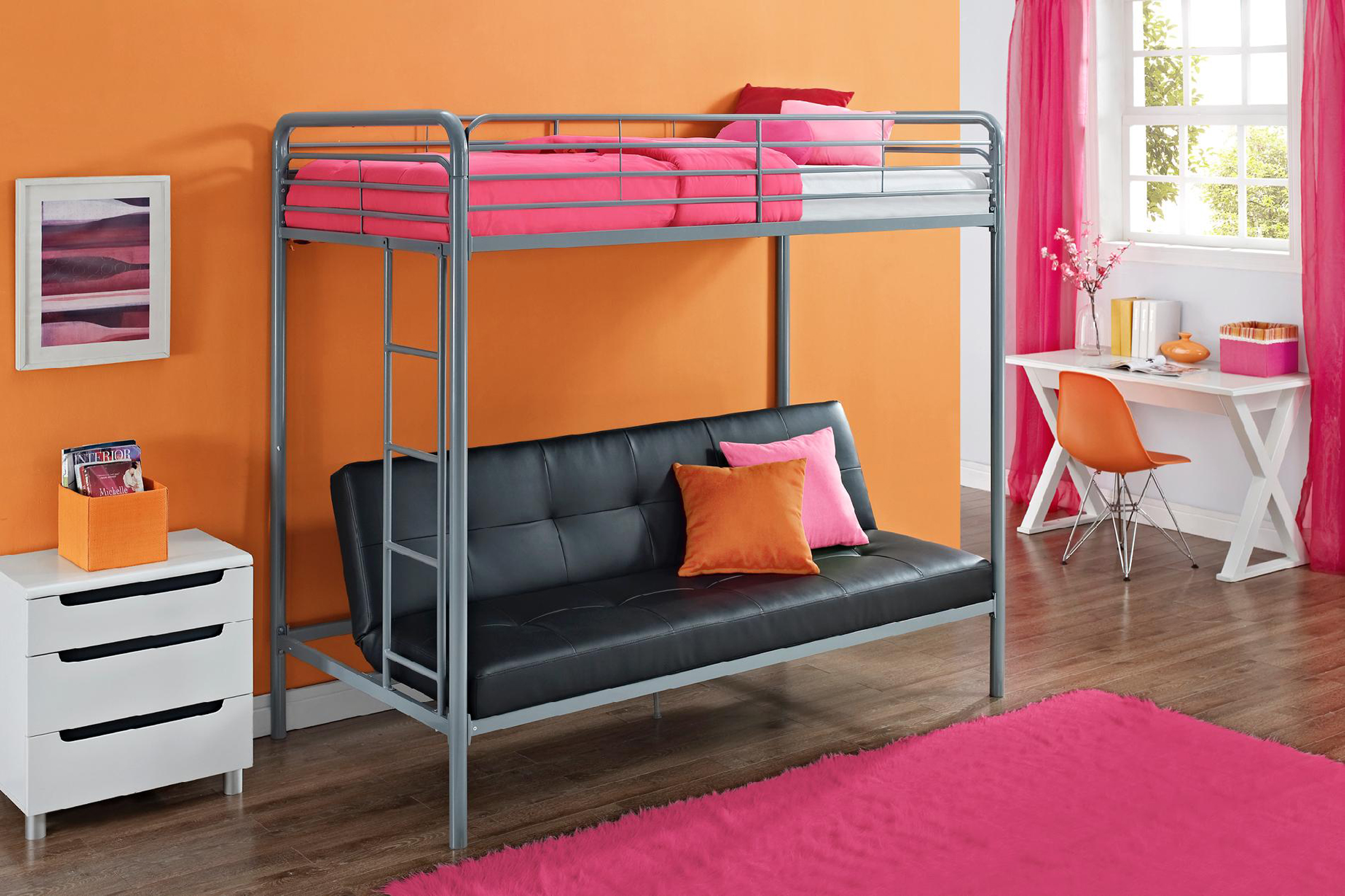 Essential Home Payton Twin Over Futon Bunk Bed Home