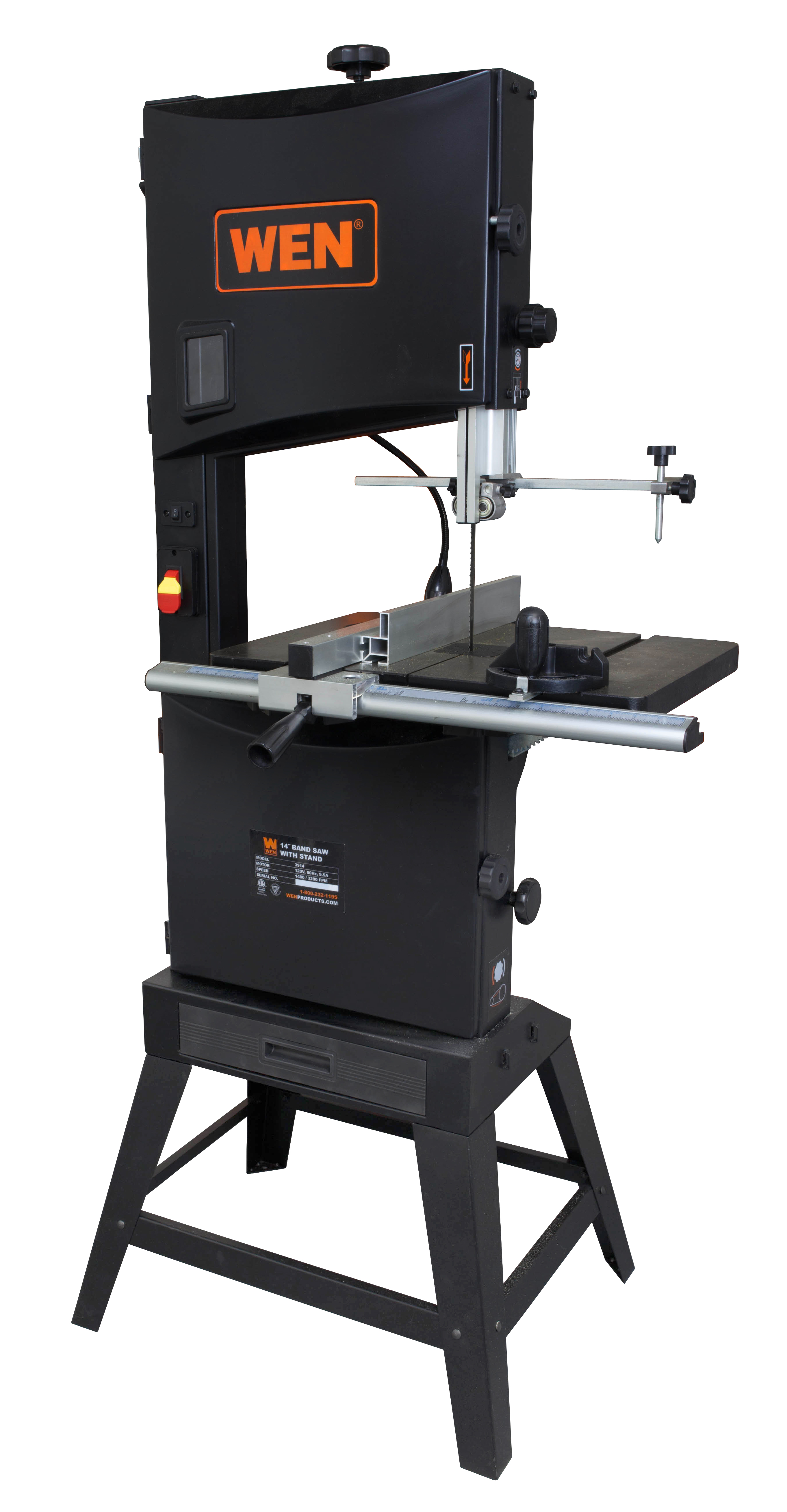 WEN 14 Inch Two Speed Band Saw With Stand And Worklight