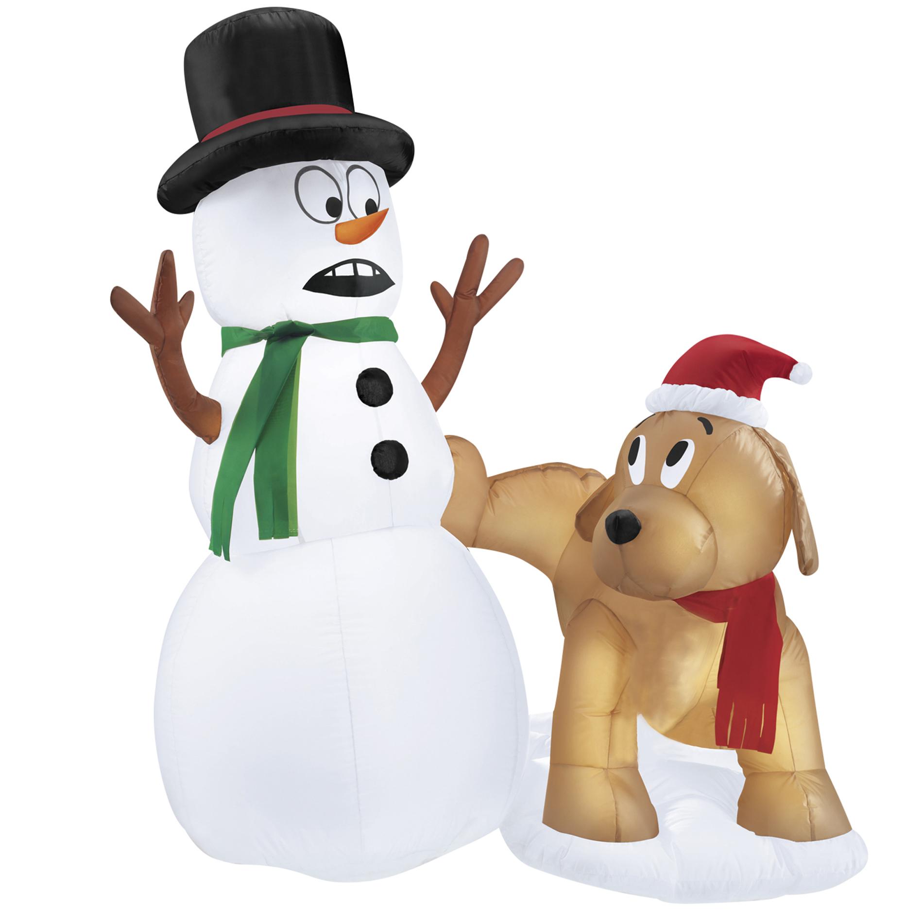 Trim A Home 4 Airblown Snowman And Dog
