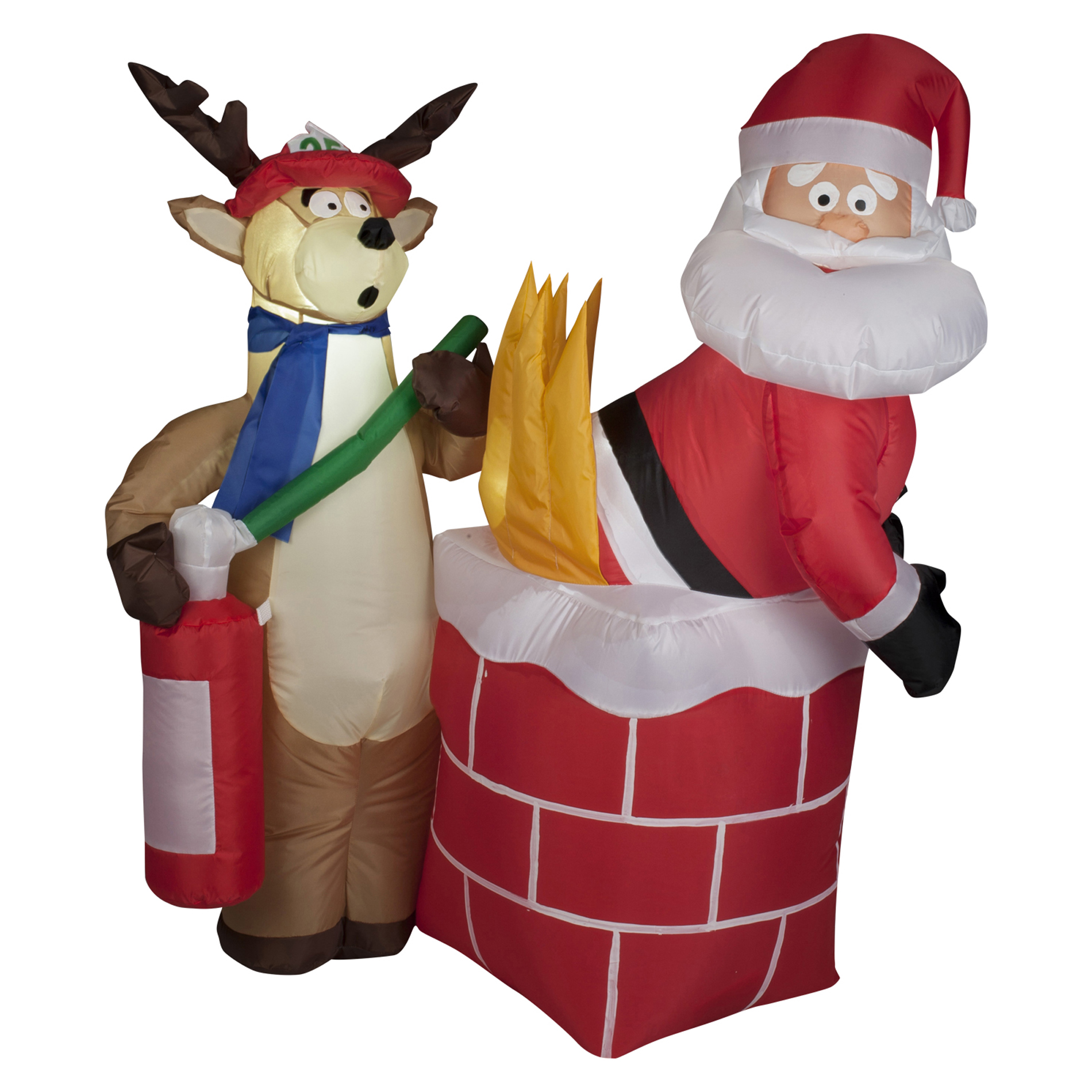 Trim A Home Airblown Santa On Fire Inflatable Decoration 4
