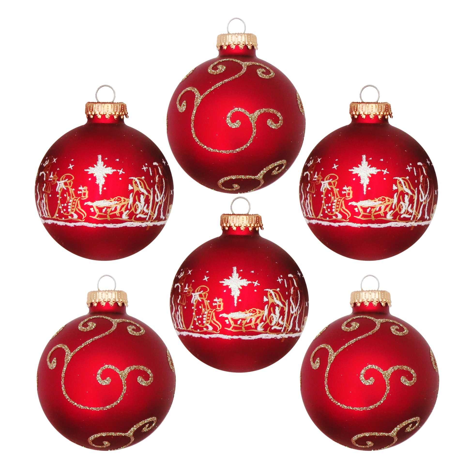 Christmas By Krebs 8Ct 67Mm Red Gold Nativity Set Deco