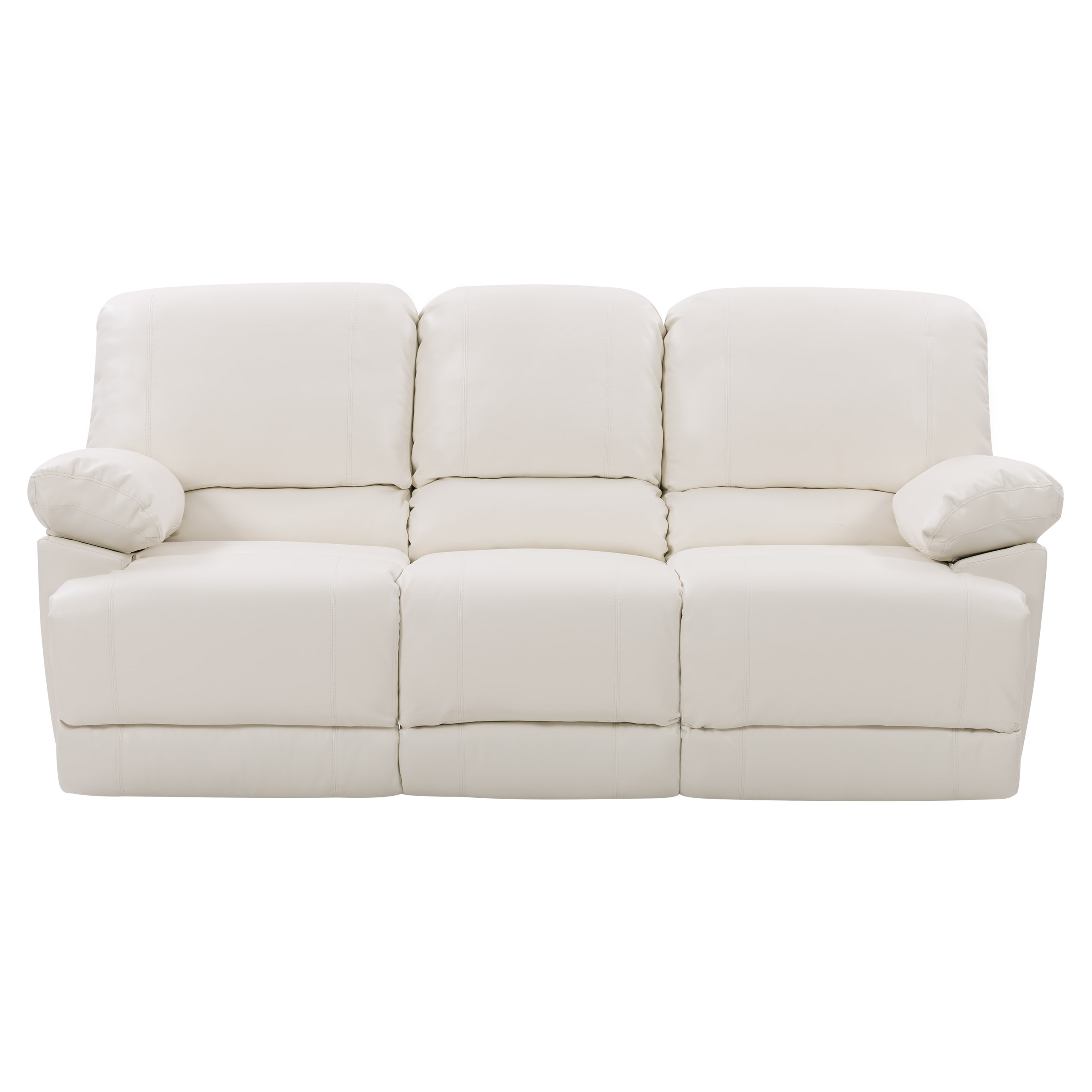 Corliving Plush Reclining White Bonded Leather Sofa With