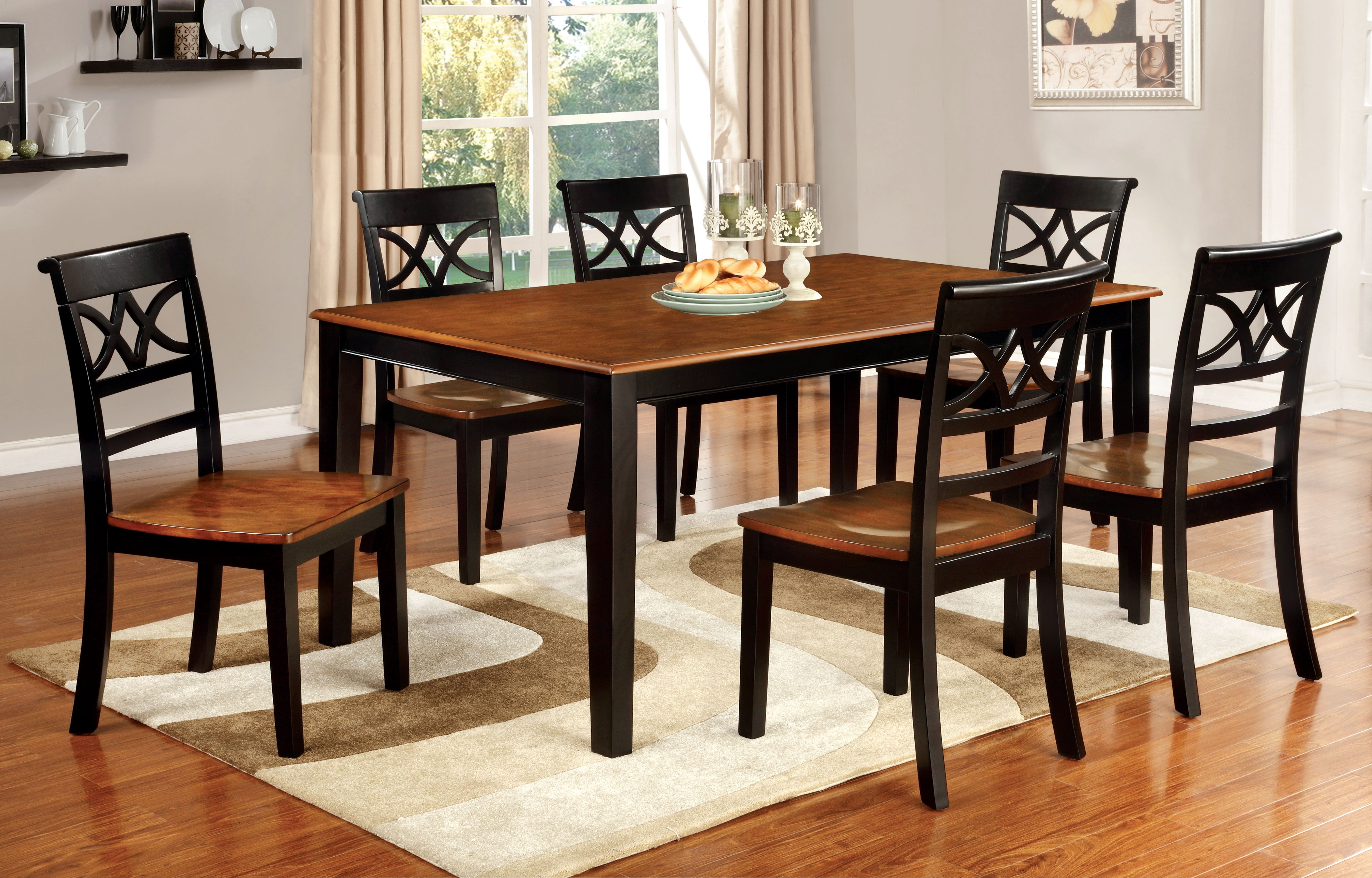 Furniture Of America Two Tone Adelle Country Style Dining Table