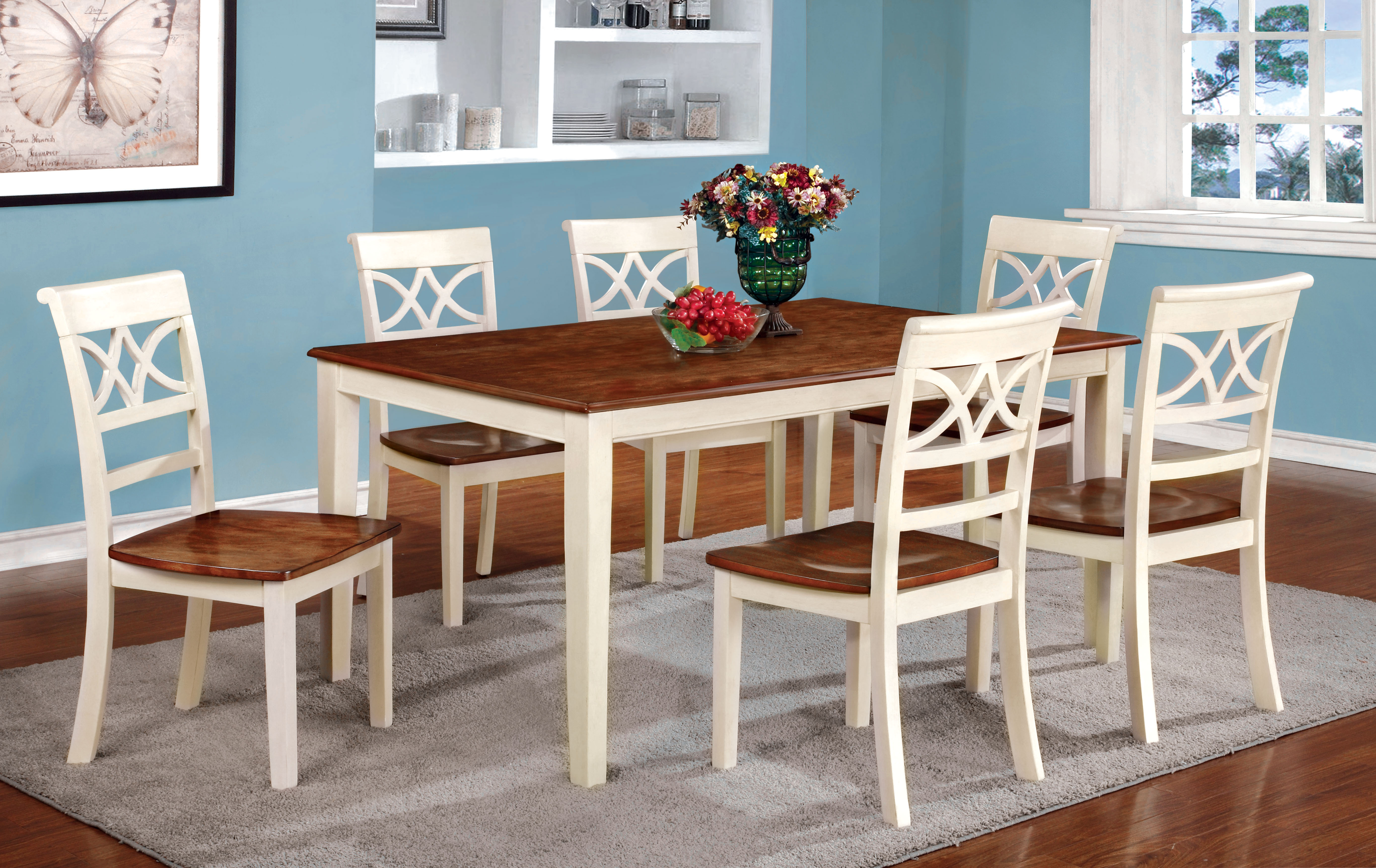Furniture Of America Two Tone Adelle Country Style Dining