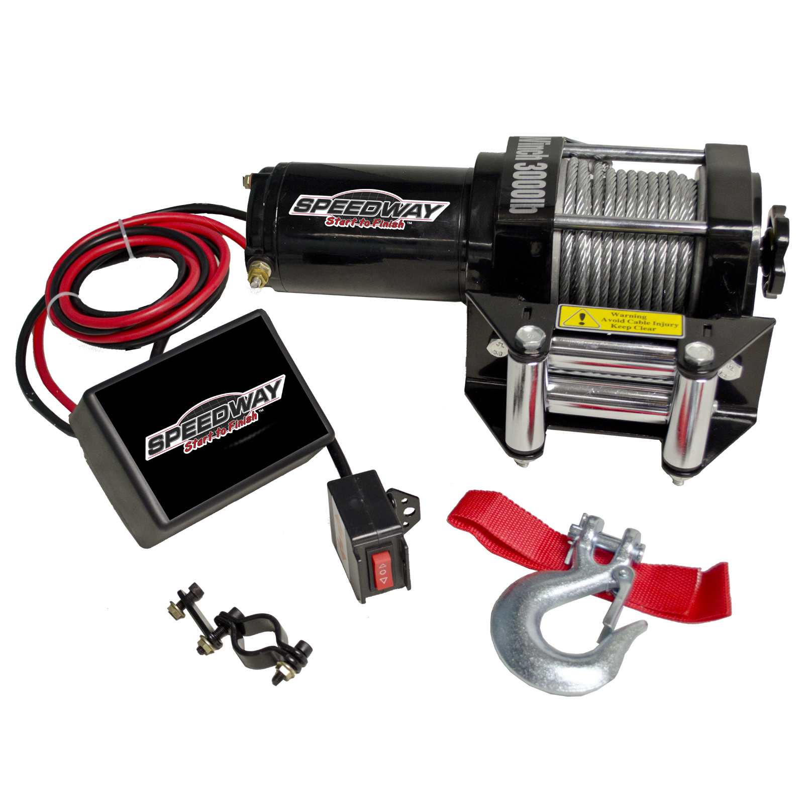Speedway Start to Finish 3000 lb 12 Volt Winch with Roller Fairlead