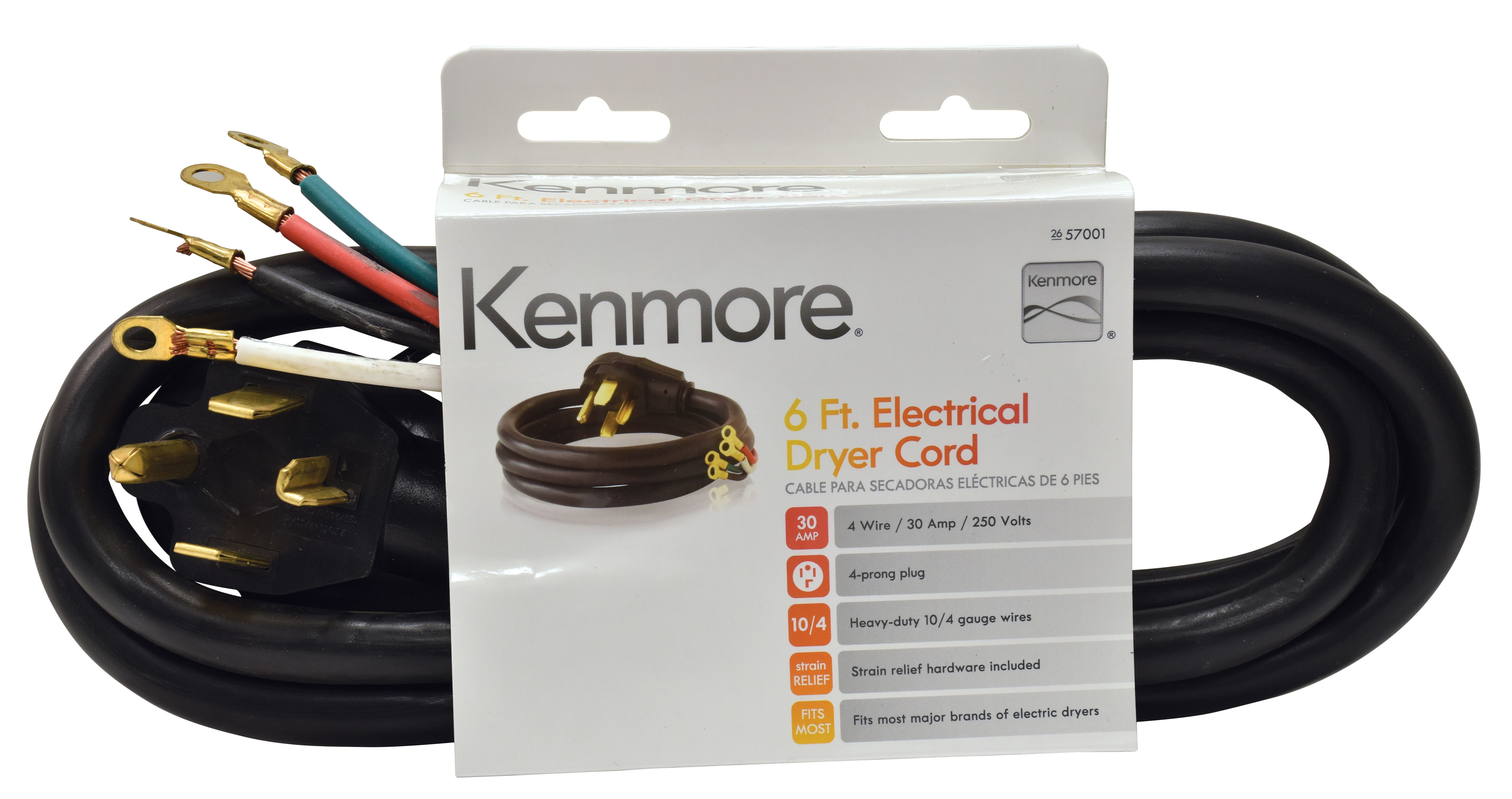 Kenmore 99921 57001 4Prong 6' Round Dryer Cord – Black