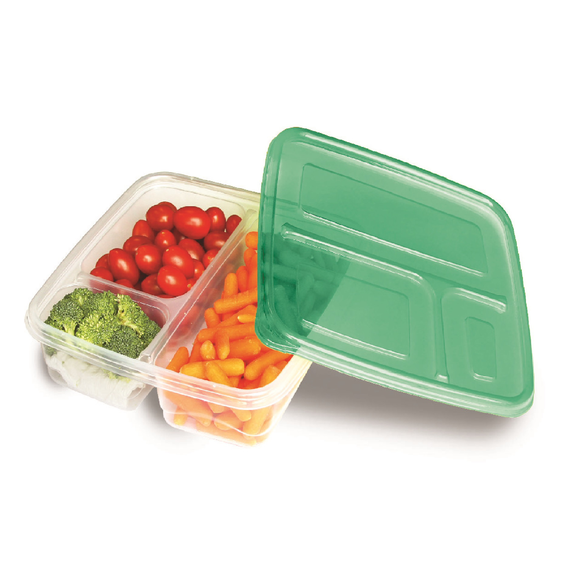 2 Pk Three Compartment Food Storage Container
