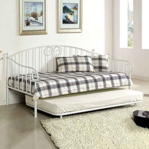 Metal Day Bed Hardware Import Direct Furniture Traditional White Metal Curvy Wrought Iron Look  Twin Daybed Day Bed with Trundle