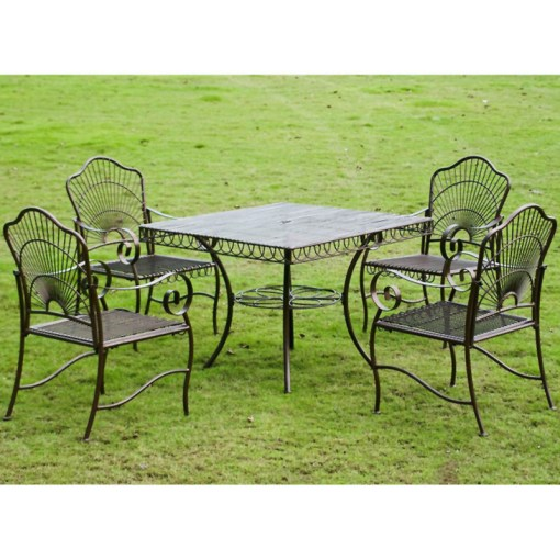 5 Piece Wrought Iron Patio Furniture International Caravan 3483 HD BZ Sun Ray Iron Square Dining Group  44