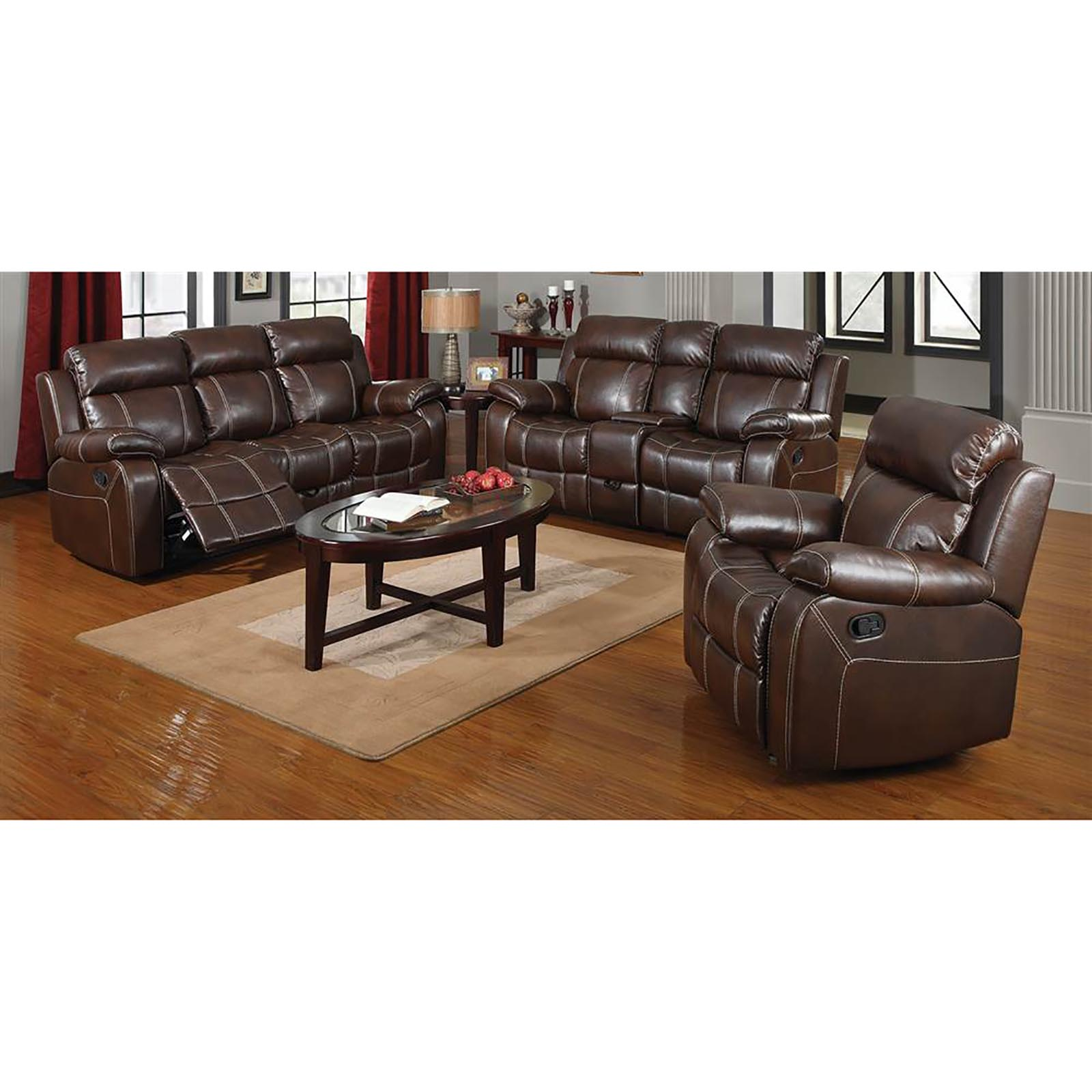 Coaster Myleene 3pc Leather Reclining Sofa Set Sears