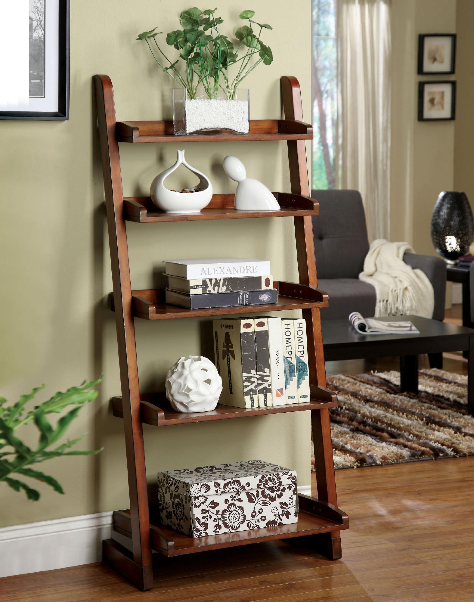 Furniture Of America Bayas Antique Oak 5 Tier Ladder Shelf
