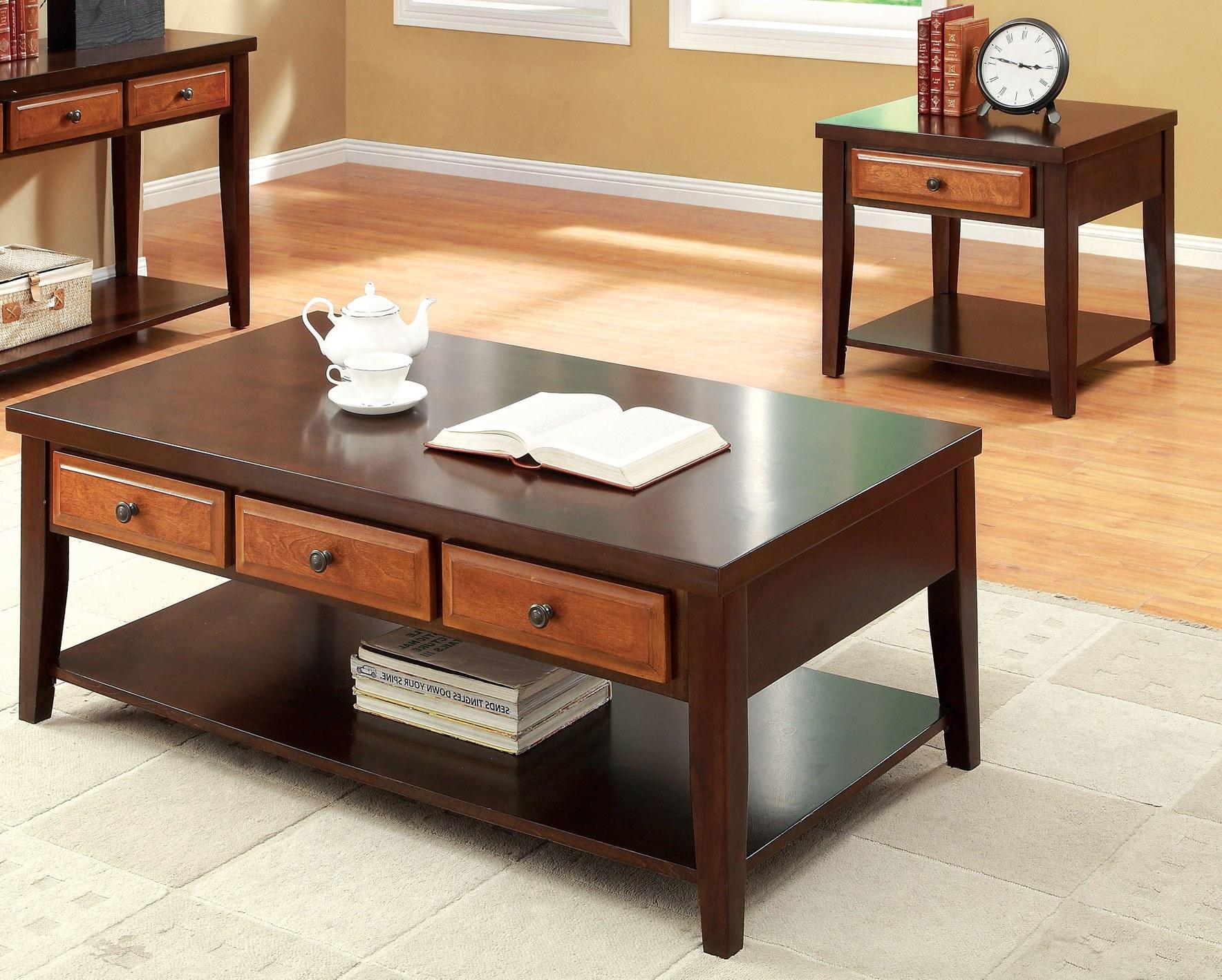 Furniture Of America Lyman 3-Drawer Dark Oak And Cherry