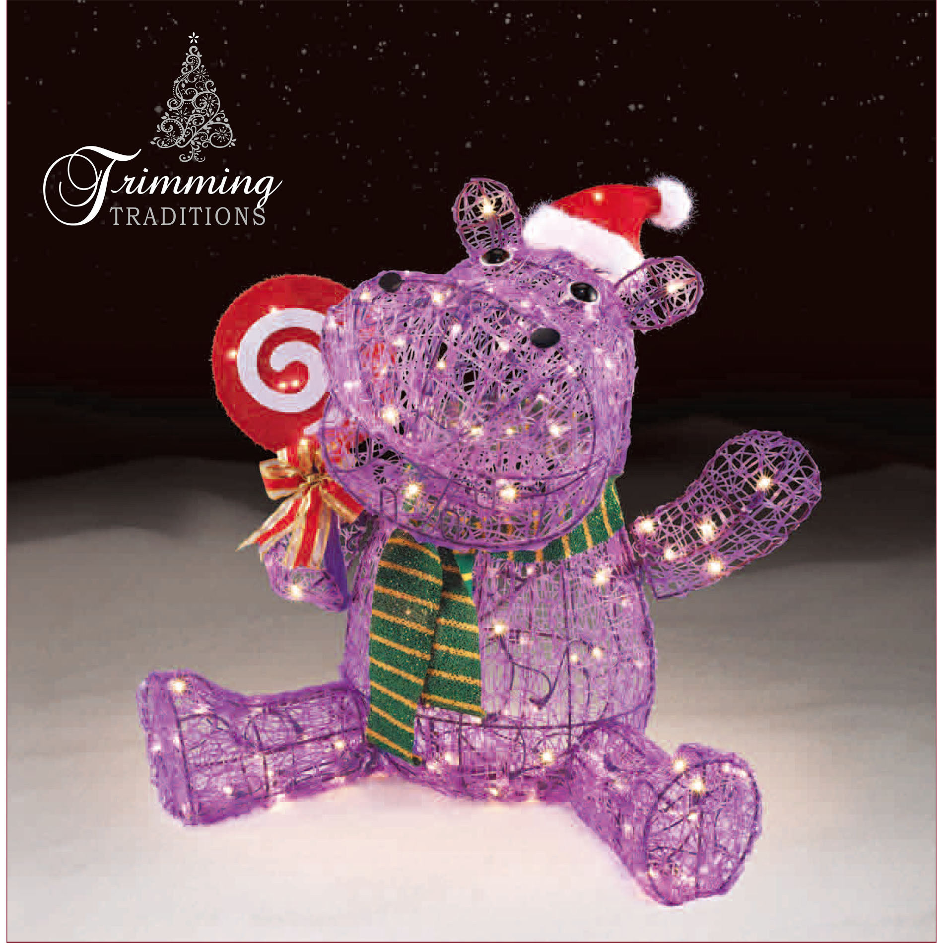 Trimming Traditions Outdoor Christmas Icy Hippo Decoration