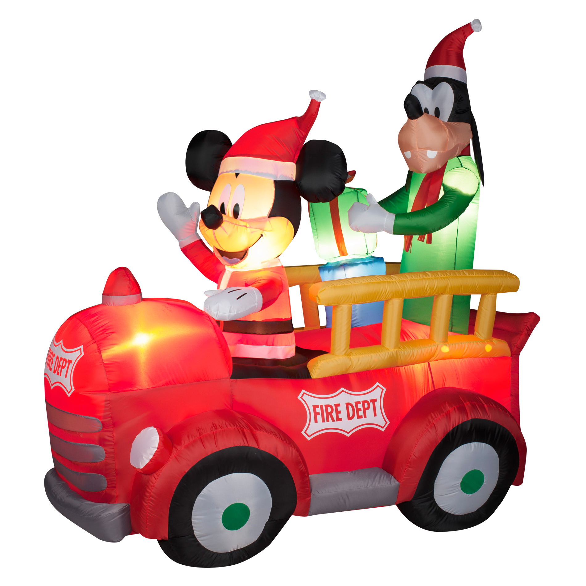 65 Ft Mickey And Goofy Fire Truck Airblown Inflatable
