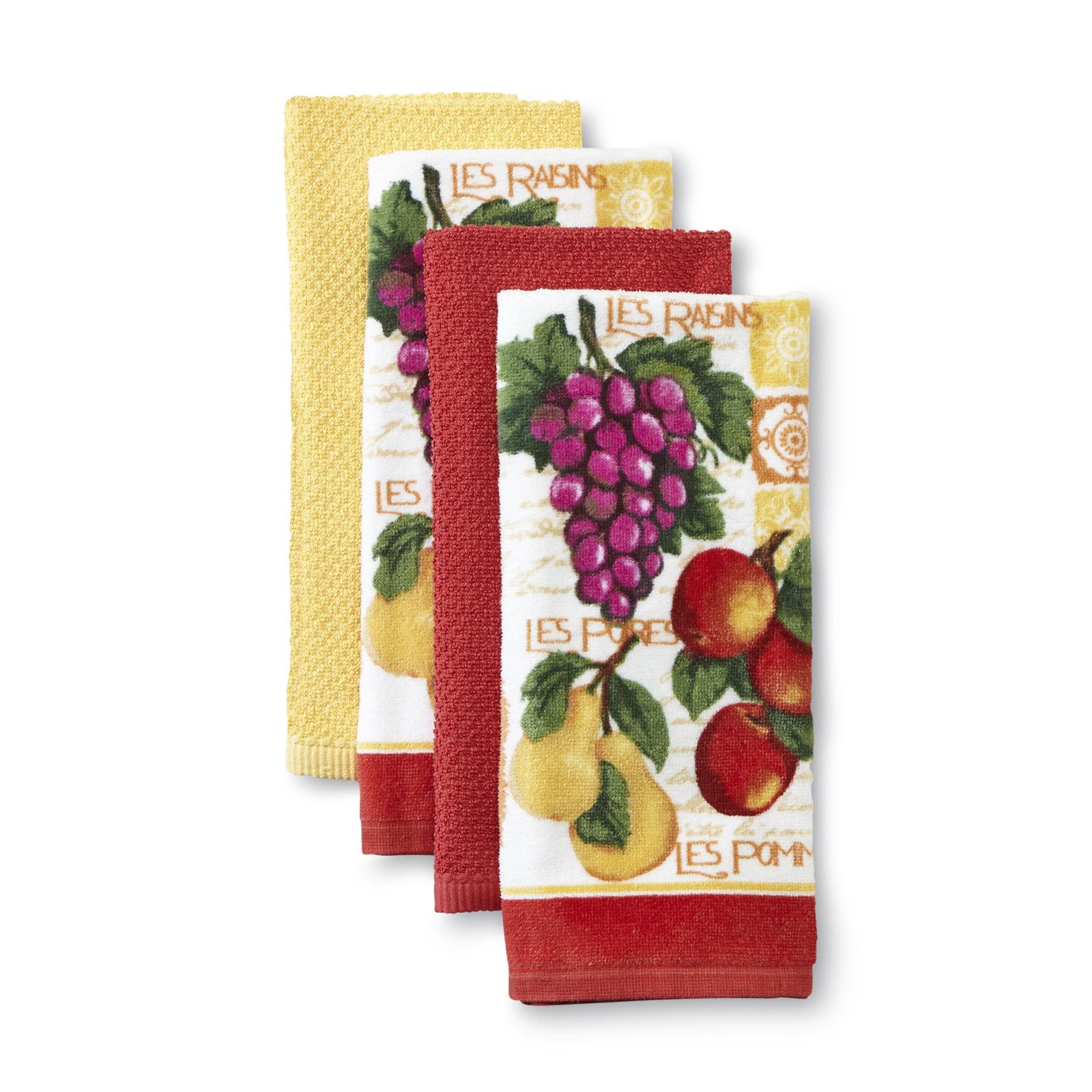 Essential Home 4 Pack Kitchen Towels Fruit Home