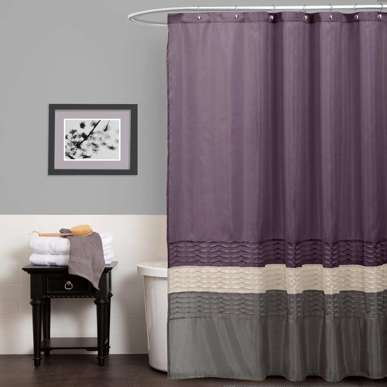 Lush Decor Mia Purple Gray Shower Curtain