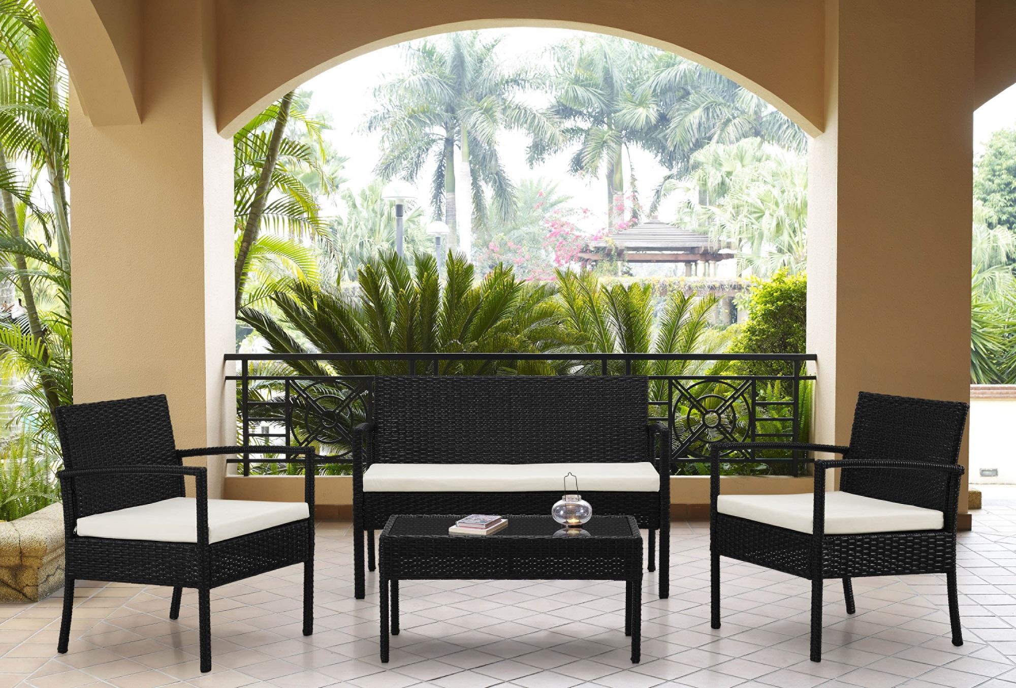 THE HOM Teaset 4-Pc Patio Conversation Set, White Cushions