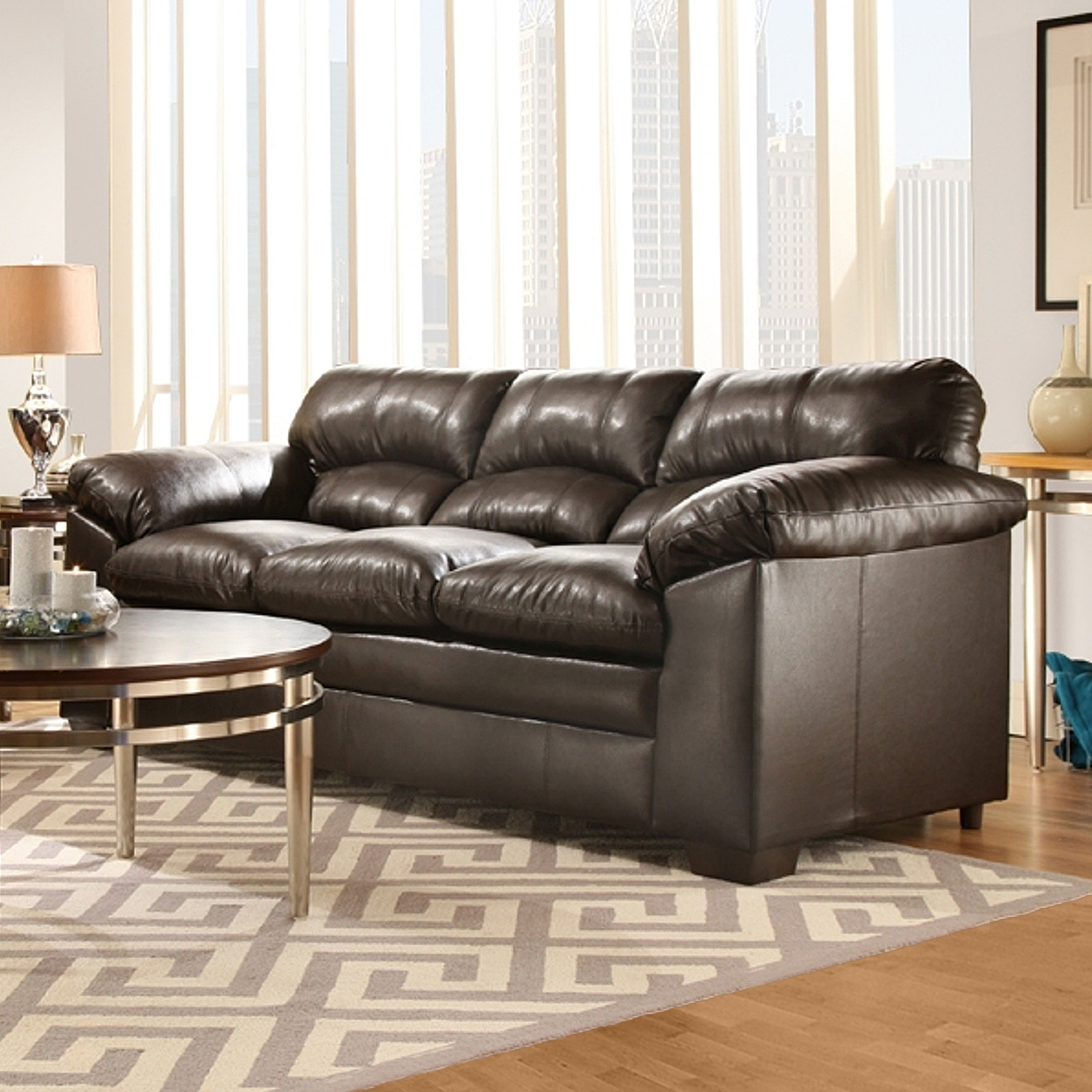 Simmons Upholstery Lowell Sofa Espresso Home