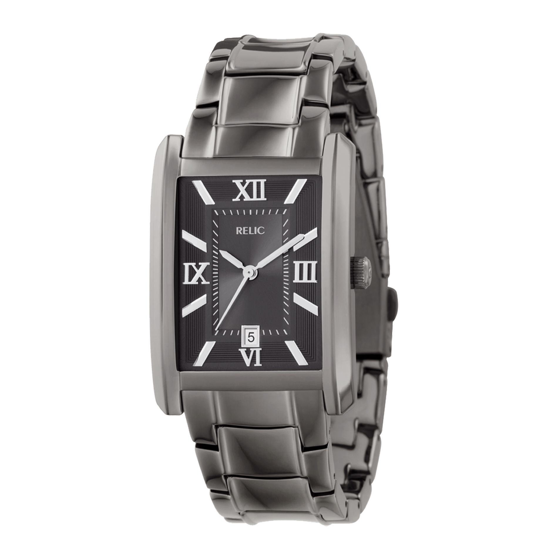 Relic Mens Calendar Date Watch With Square Gunmetal Dial