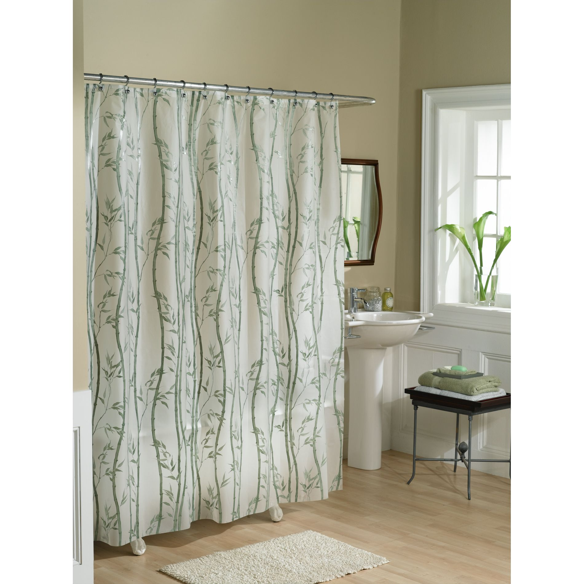 shower curtain bamboo vinyl peva