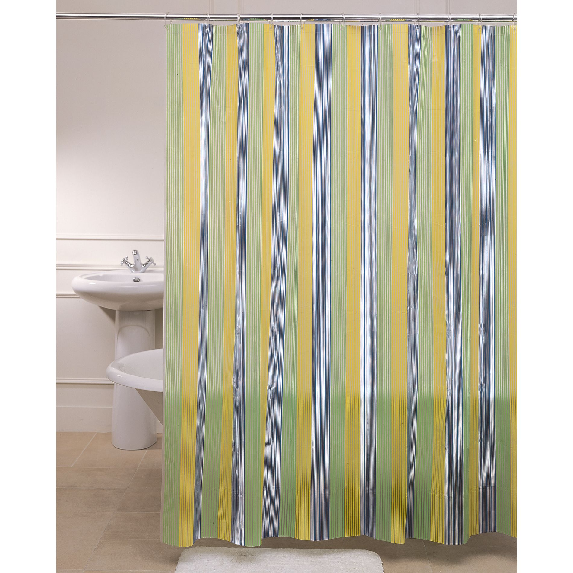 Shower Curtain Denim Stripes Vinyl Peva
