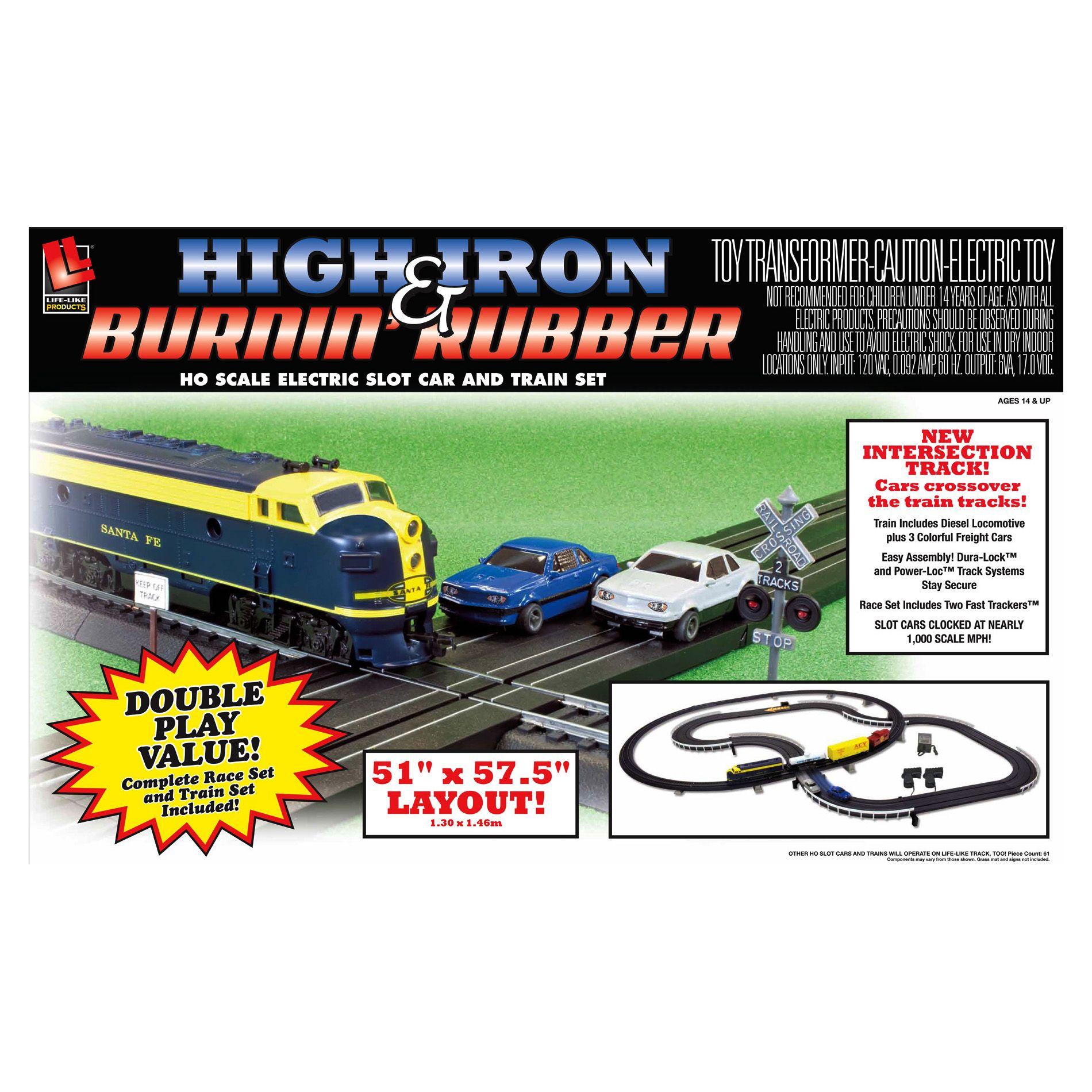 Lifelike Trains NASCAR High Iron And Burnin Rubber Race
