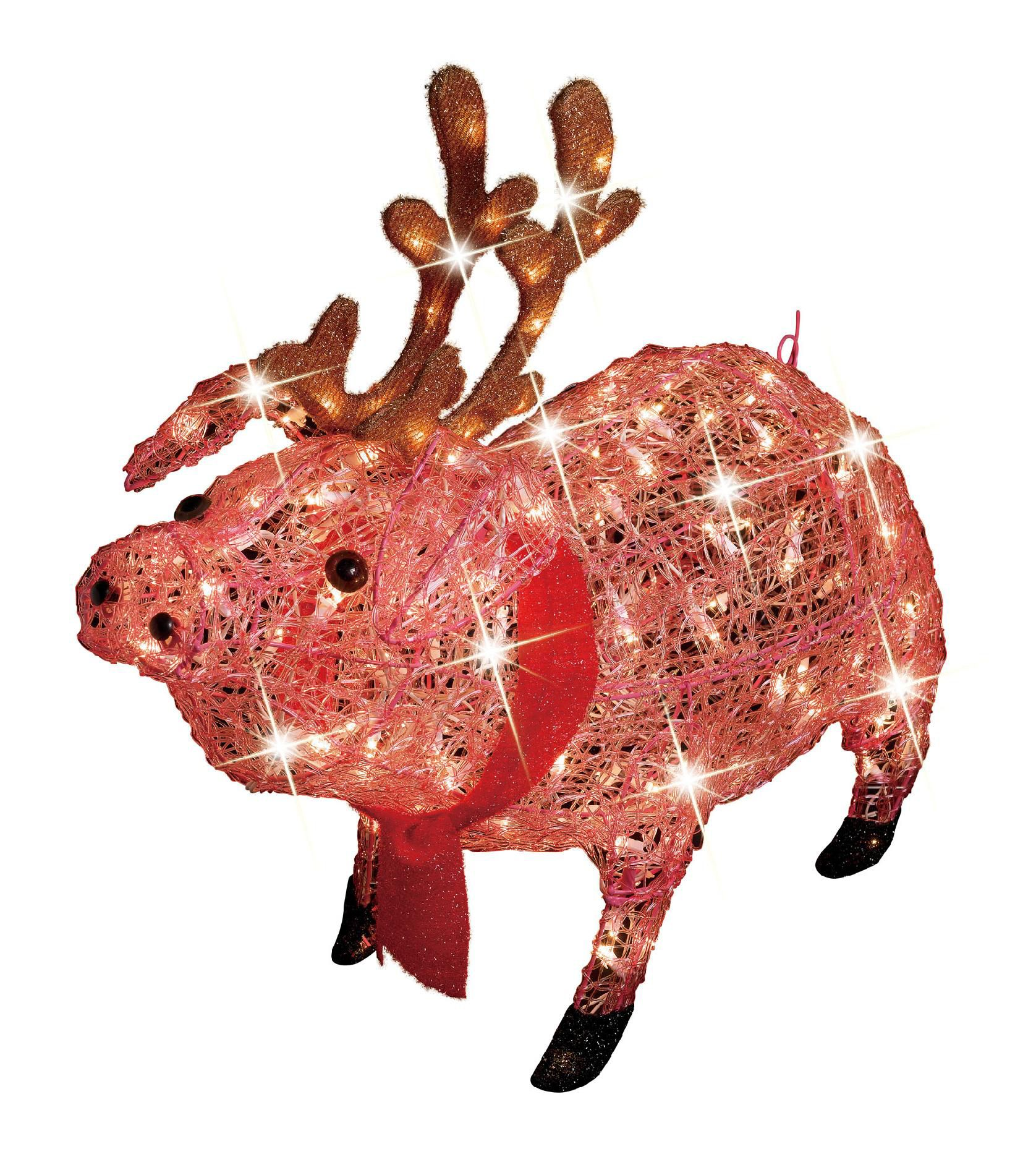 Trim A Home 30in Icy Lighted Christmas Pig With Antlers