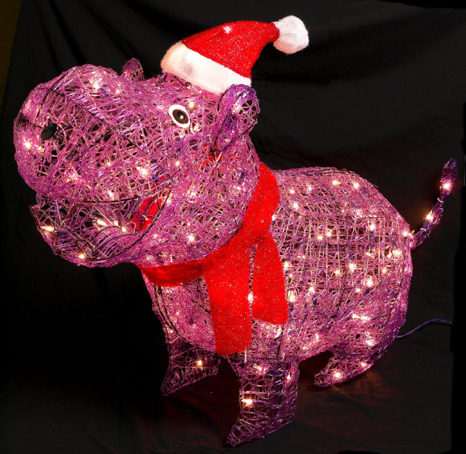 Trim A Home 36in Lighted Christmas Acrylic Purple Hippo