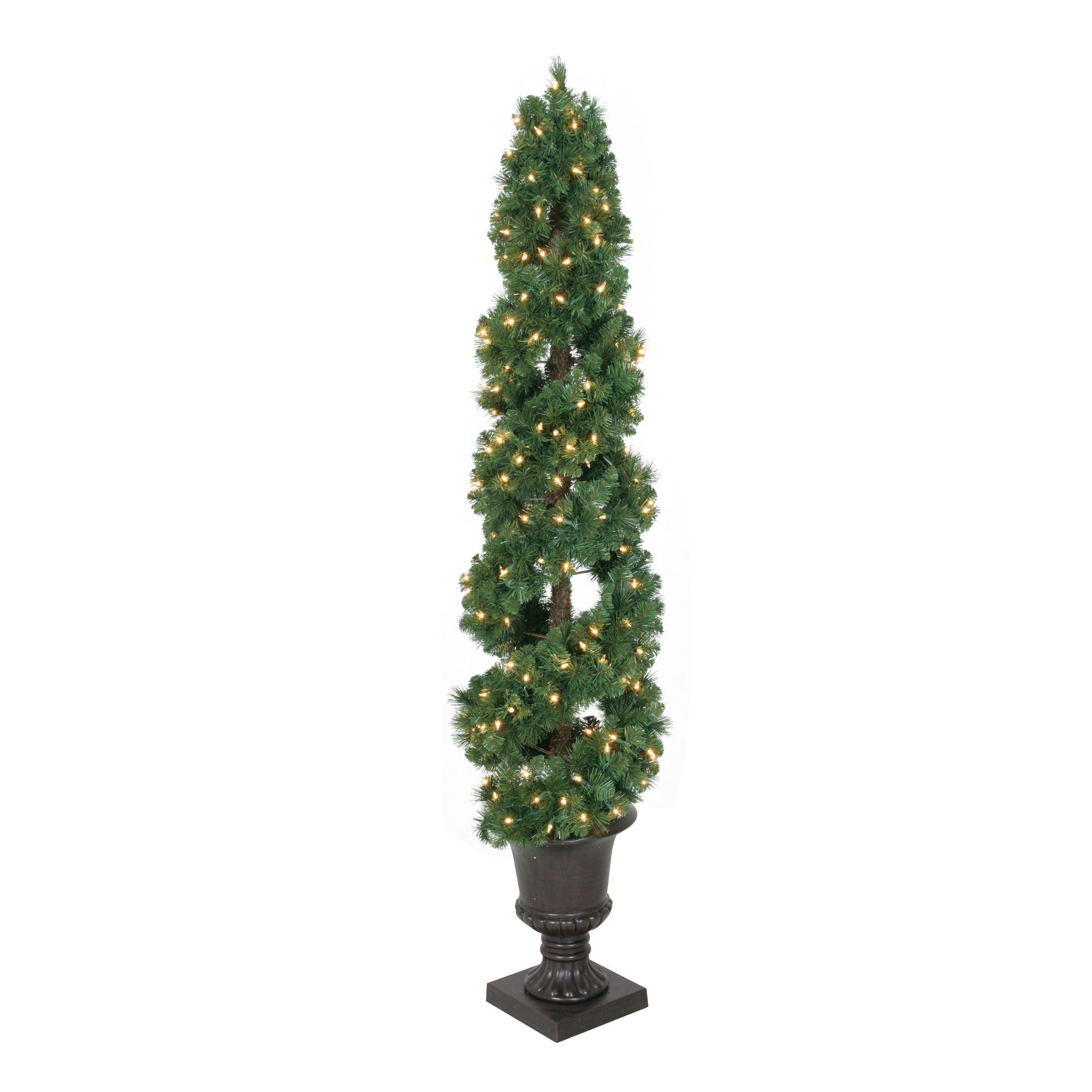 6 Ft Clear Pre Lit Topiary Pine Artificial Christmas Tree