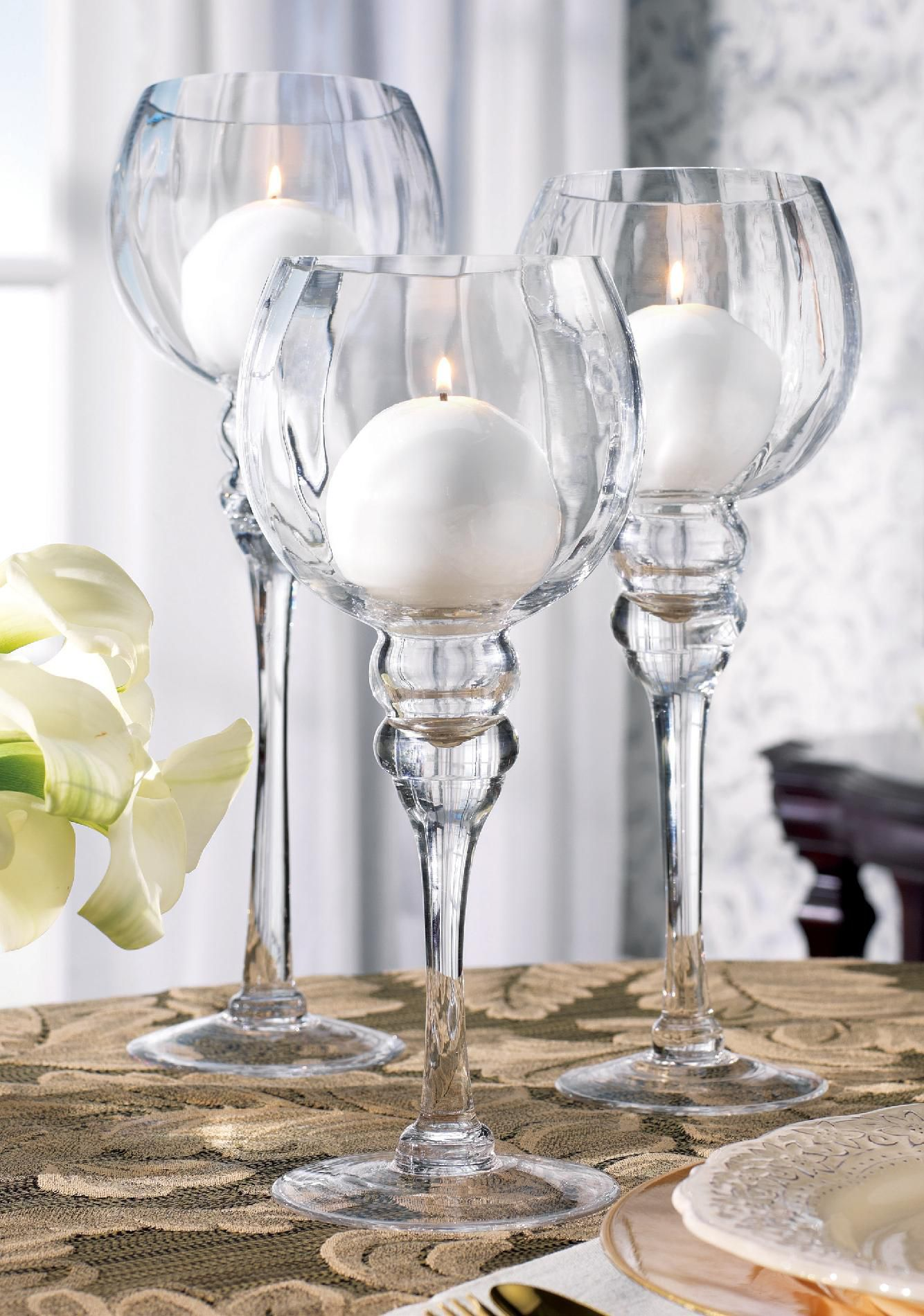 Home Essentials 3pc Charisma Clear Hurricane Candleholder