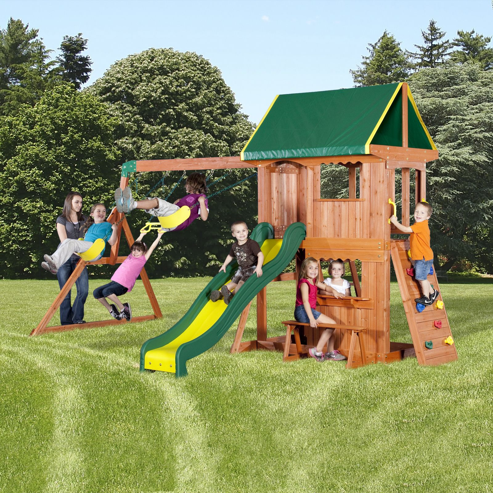 backyard wood swing set play all day with kmart