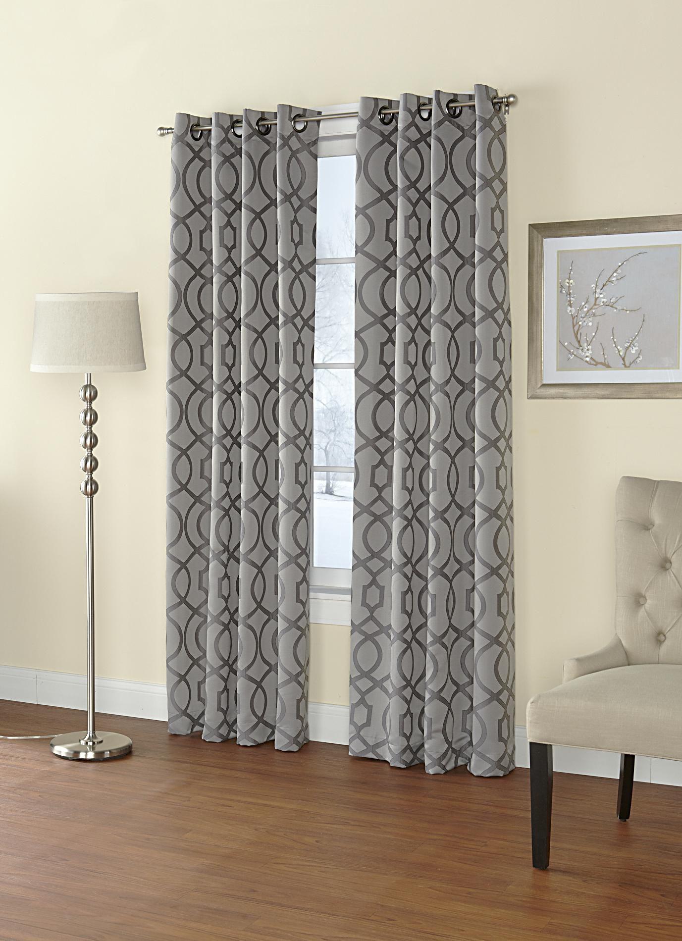 Regal Home Jacquard Grommet Top Single Curtain Panel Home Home Decor Window Treatments
