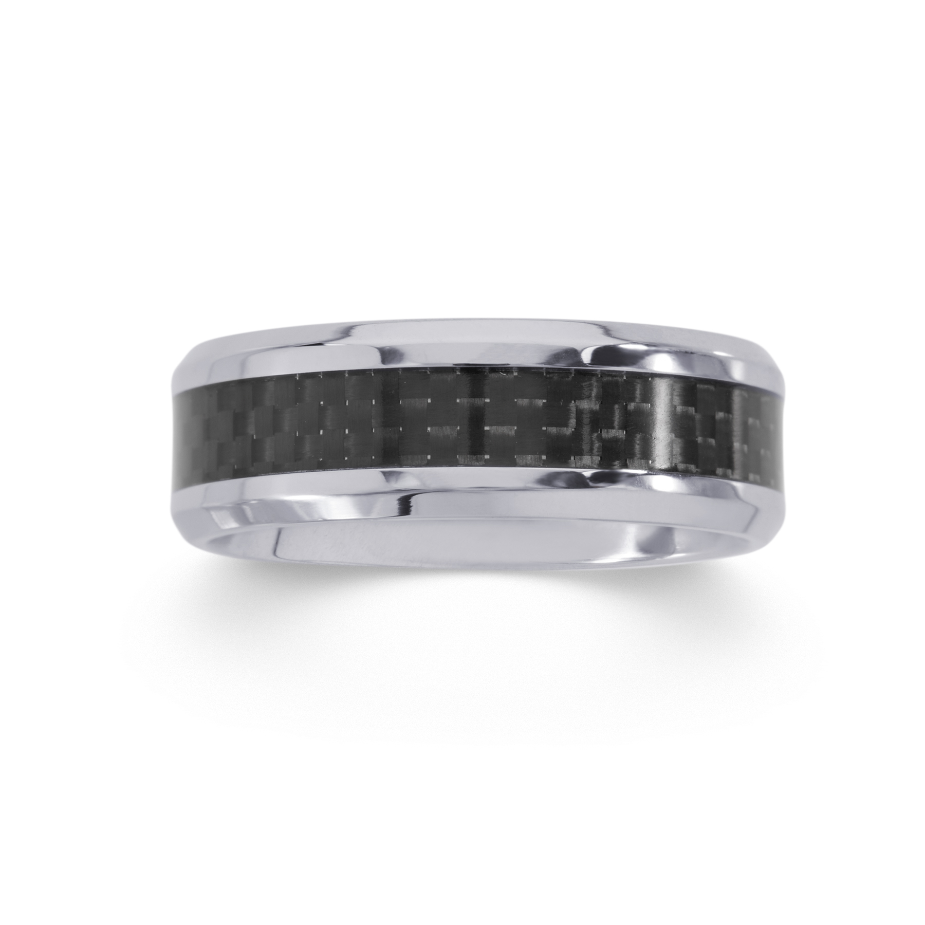 Mens Carbon Fiber Inlay Stainless Steel Wedding Band