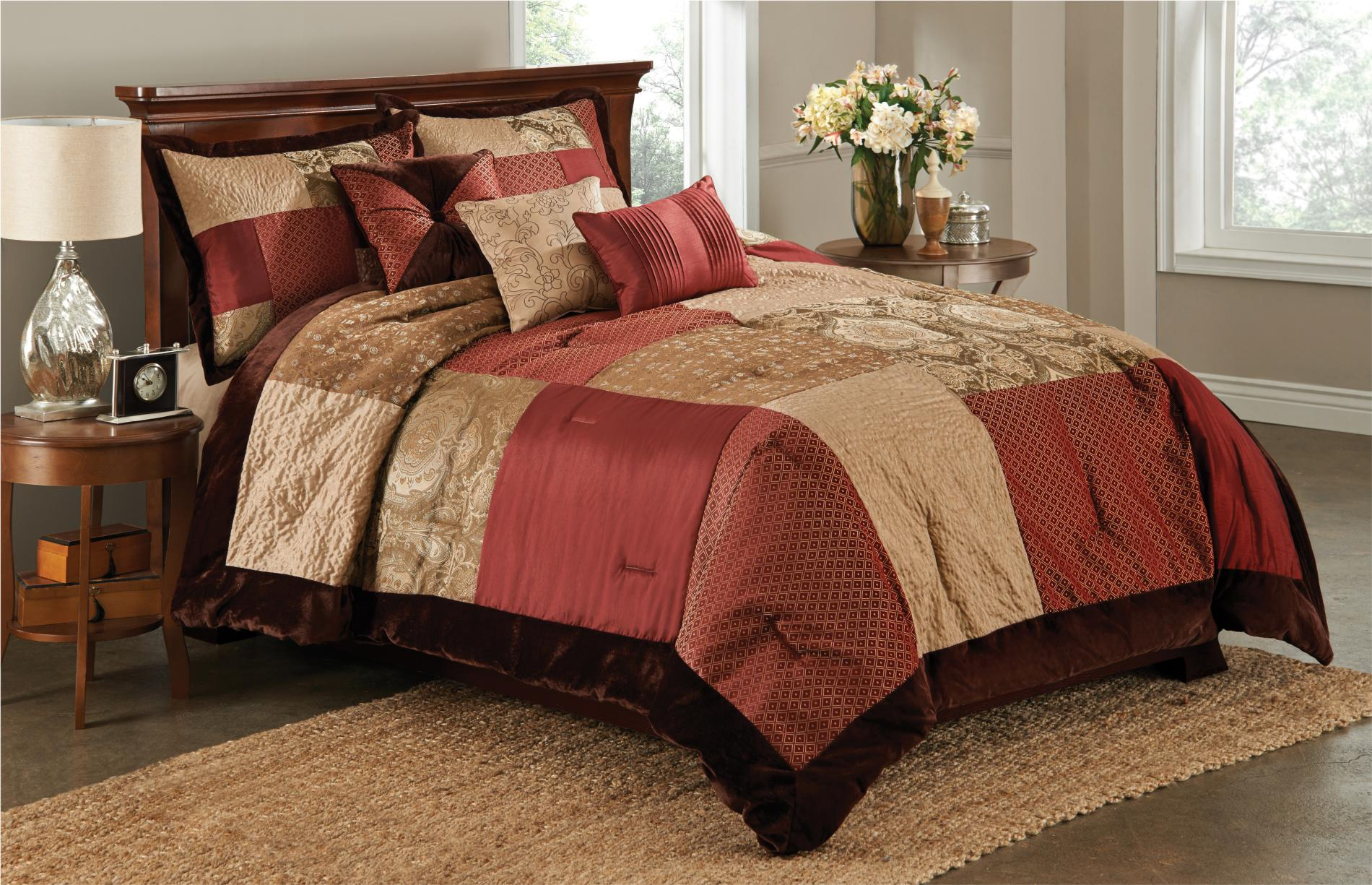 Essential Home 6-Piece Red / Brown San Marco Comforter Set