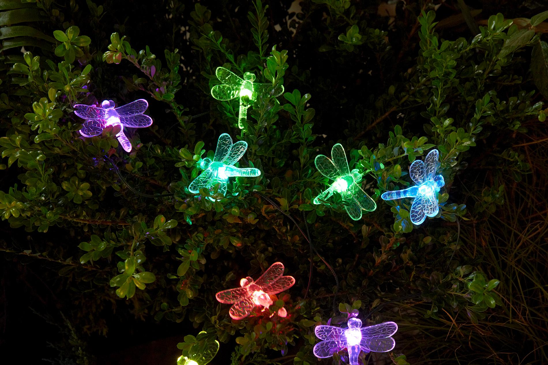 Essential Garden Solar Dragonfly String Lights 20 Ct