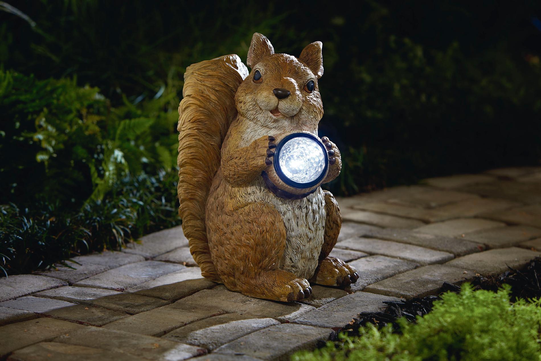 Garden Oasis Squirrel With Solar Acorn