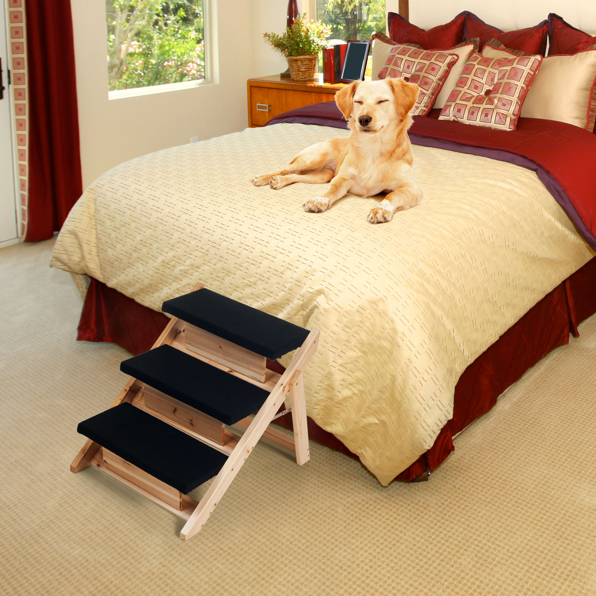 PAW Folding 2 In 1 Pet Ramp Amp Stairs For Dogs And Cats