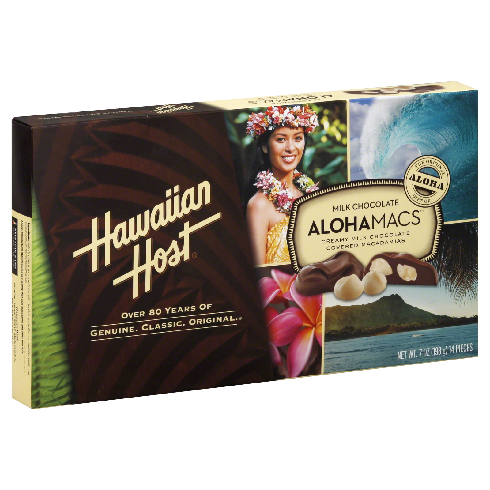 Hawaiian Host Macadamia Nuts Chocolate Covered 14 Pieces